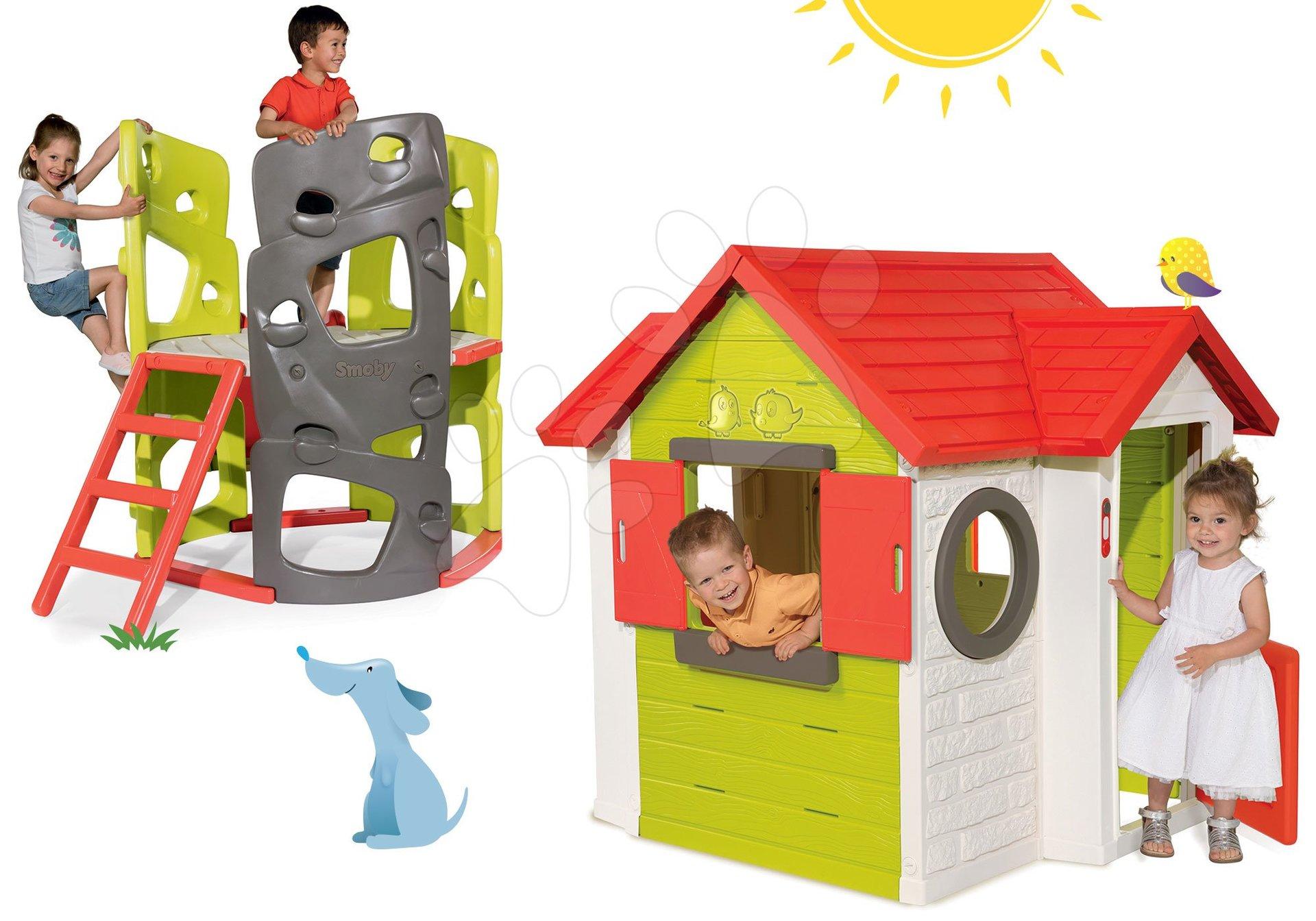 Set domček My House Smoby s 2 dverami a preliezačka Multiactivity Climbing Tower so šmykľavkou od 24 mes