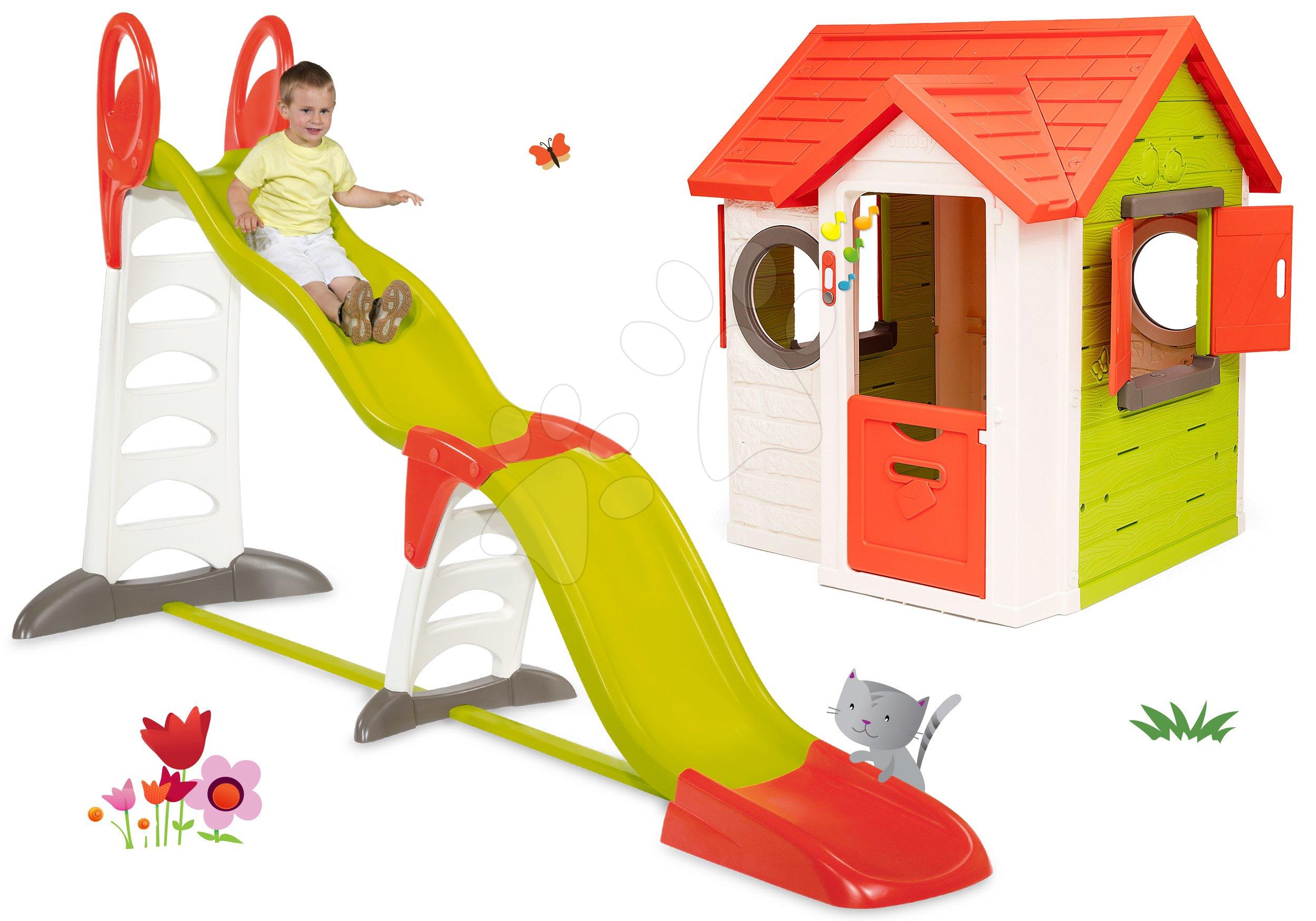 Set domček My Neo House DeLuxe Smoby so zvončekom a šmykľavka Toboggan Super Megagliss 2v1 od 24 mes