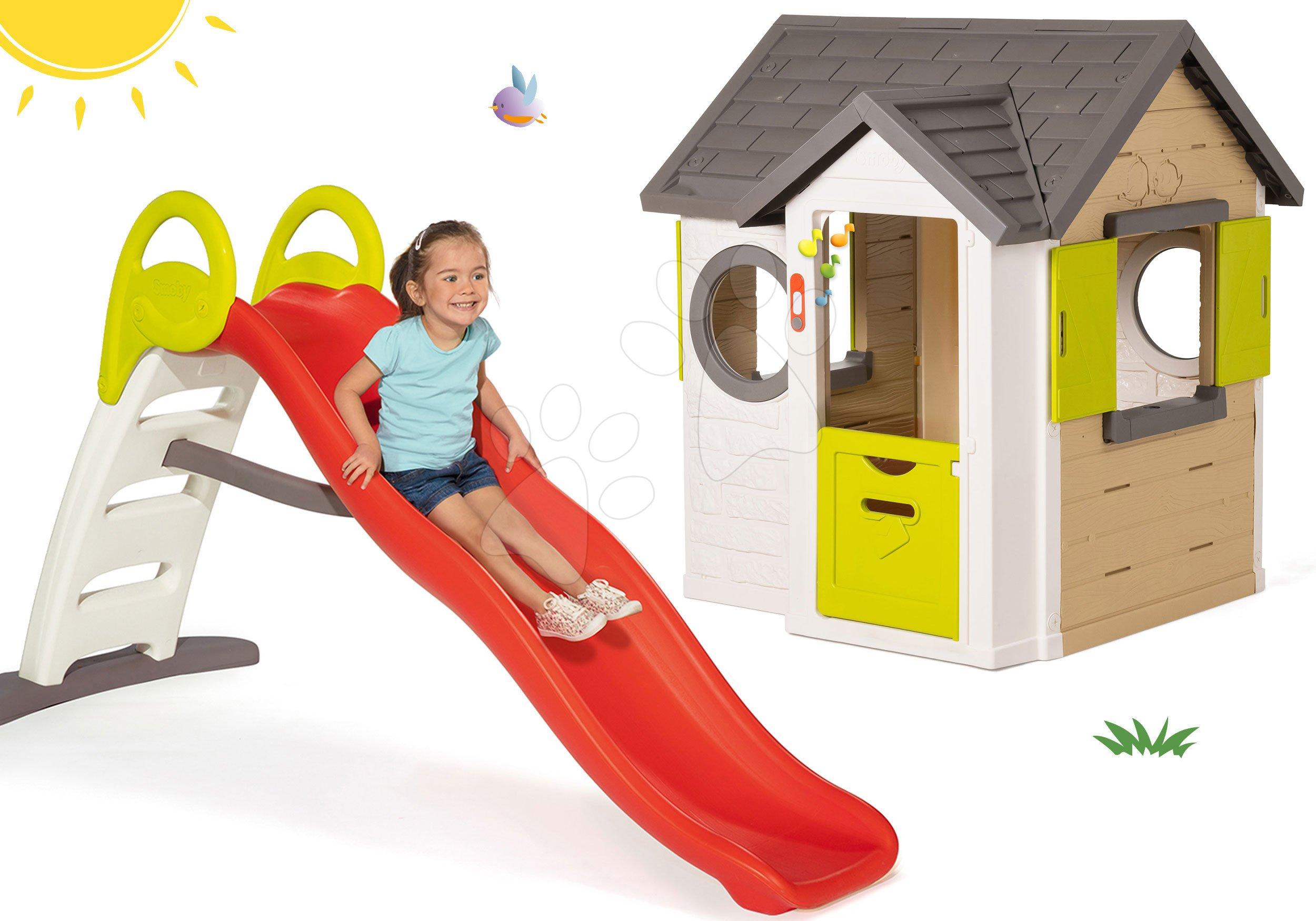 Set căsuţă My Neo House DeLuxe Smoby cu sonerie, 2 uşi și tobogan Funny Toboggan de la 24 luni