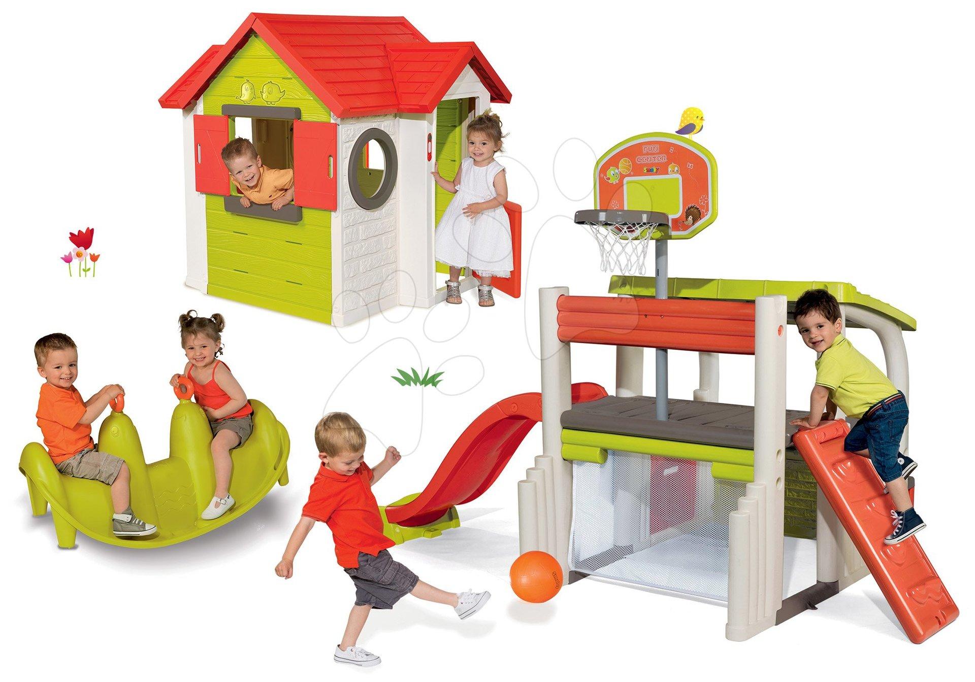 Set domček My House Smoby so zvončekom a 2 dverami a hracie centrum Fun Center so šmykľavkou a hojdačkou Tuleň od 24 mes