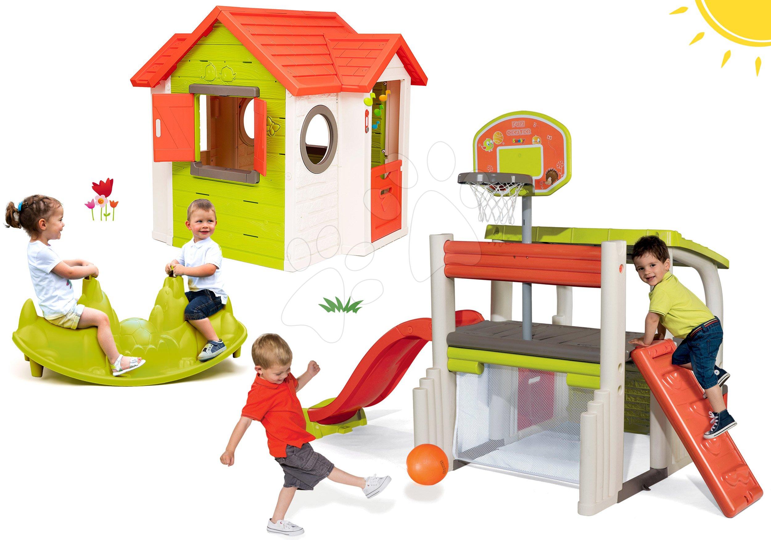 Set căsuţă My Neo House DeLuxe Smoby cu sonerie cu 2 uşi şi centru de joacă Fun Center cu tobogan şi balansoar Câțeluș de la 24 luni