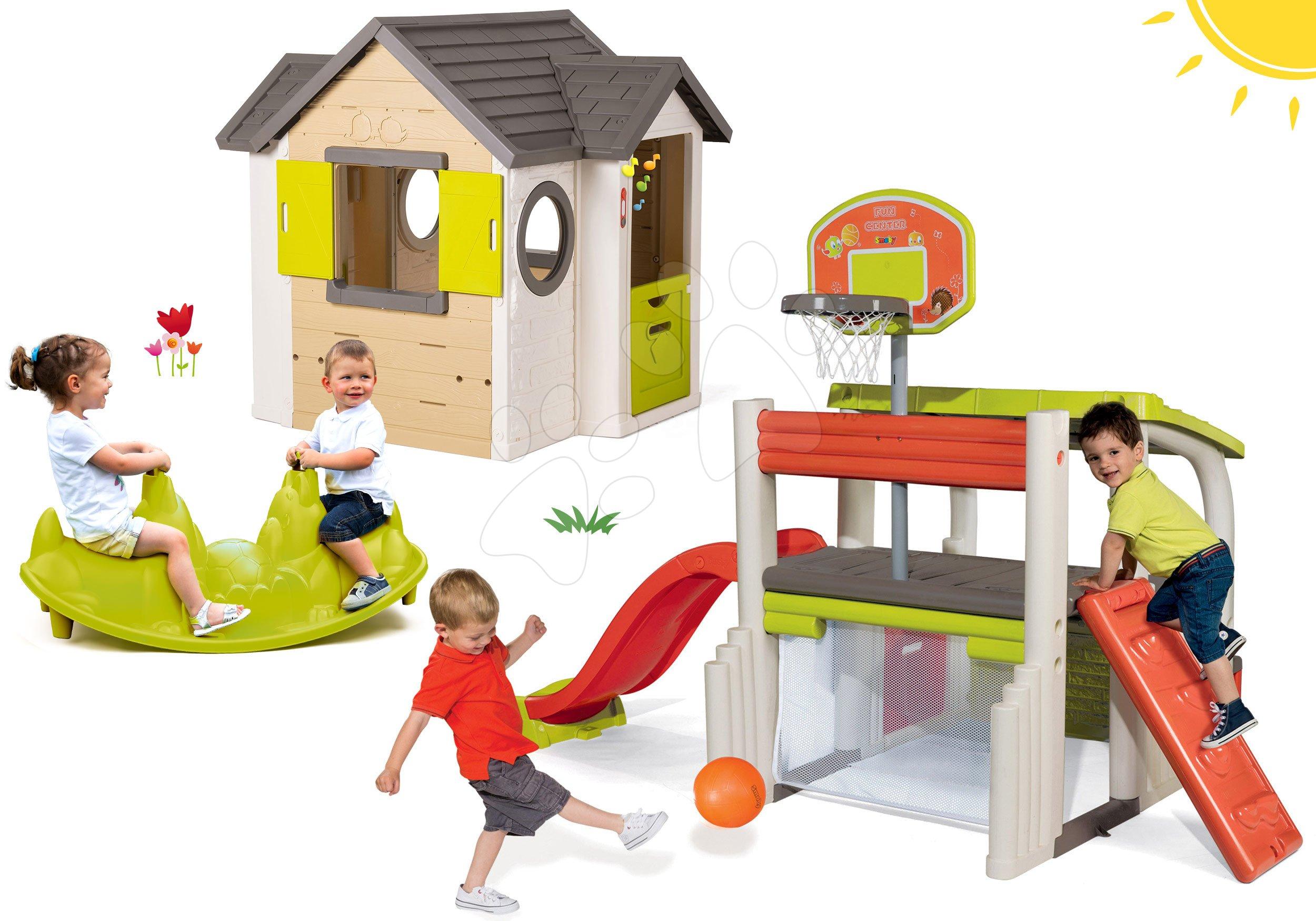 Smoby set domeček My House se zvonkem a 2 dveřmi a hrací centrum Fun Center s houpačkou Tuleň 810402-26