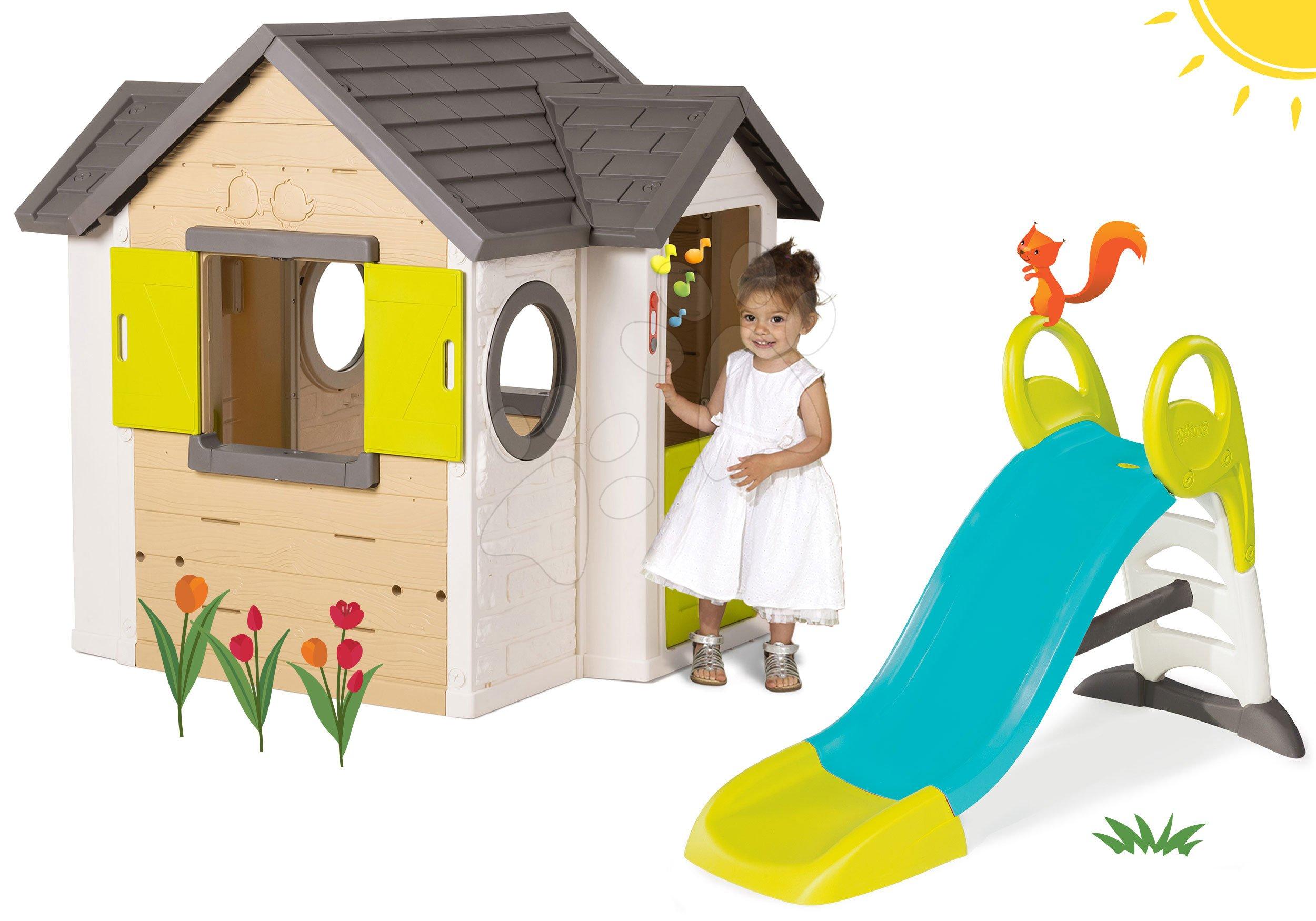 Smoby set domček My House so zvončekom a 2 dverami a šmykľavka Toboggan KS s vodou 810402-28