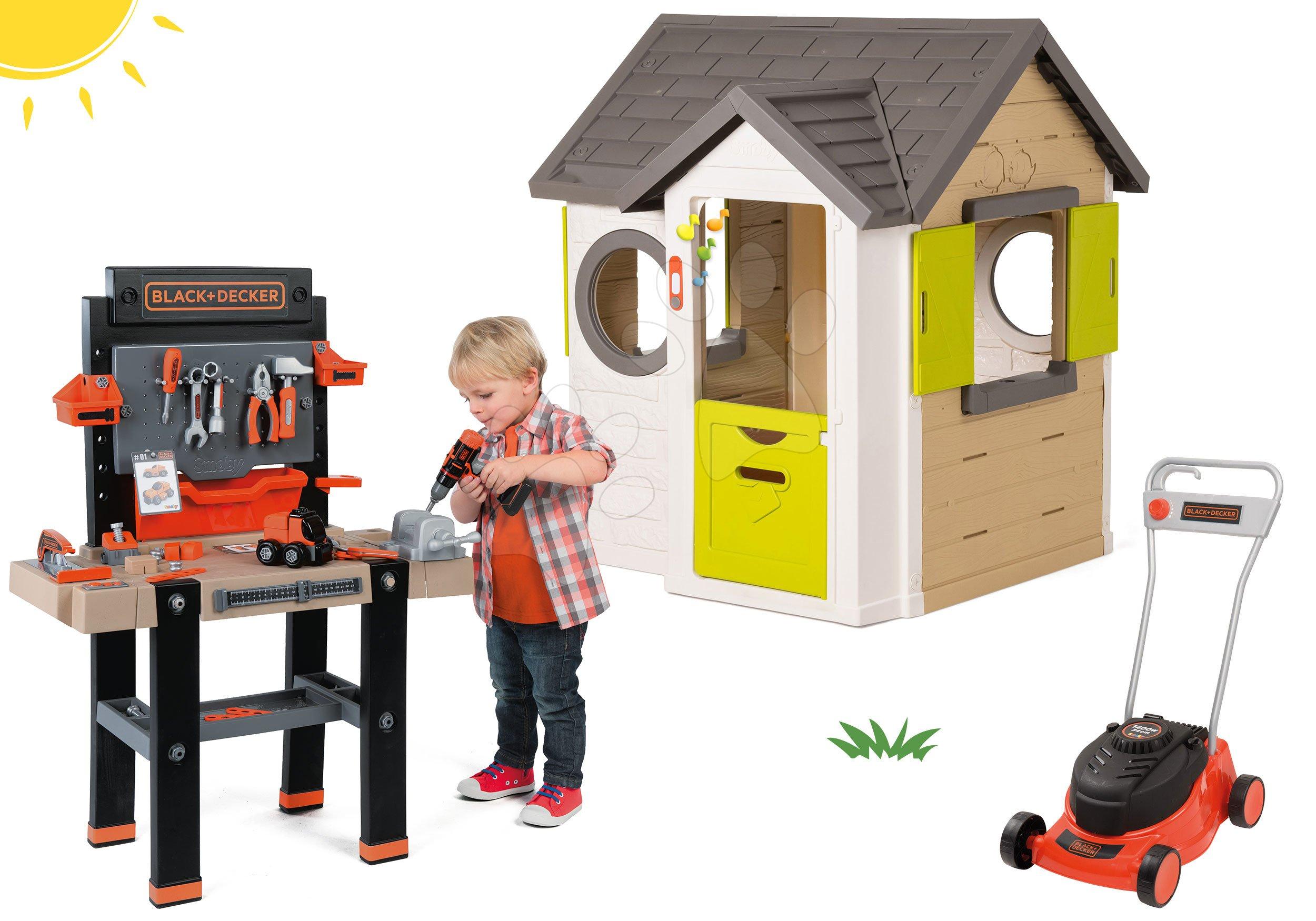 Smoby set domček My House so zvončekom a 2 dverami a kosačka na trávu Black&Decker 810402-29