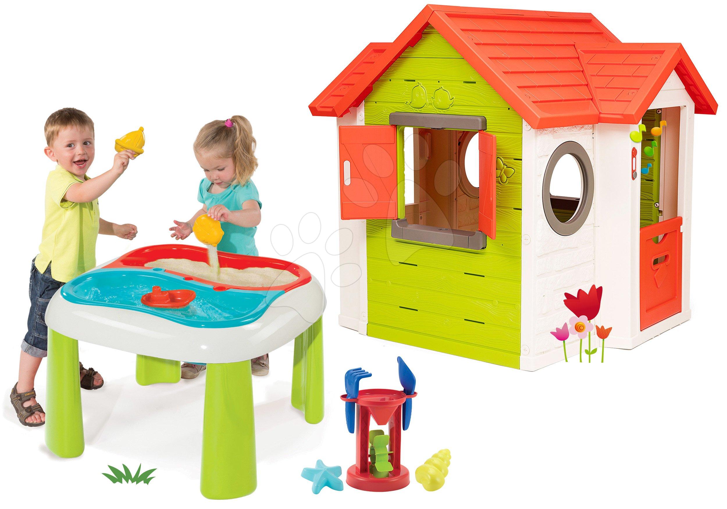 Set domeček My Neo House DeLuxe Smoby s elektronickým zvonkem a stůl Voda & Písek od 24 měsíců