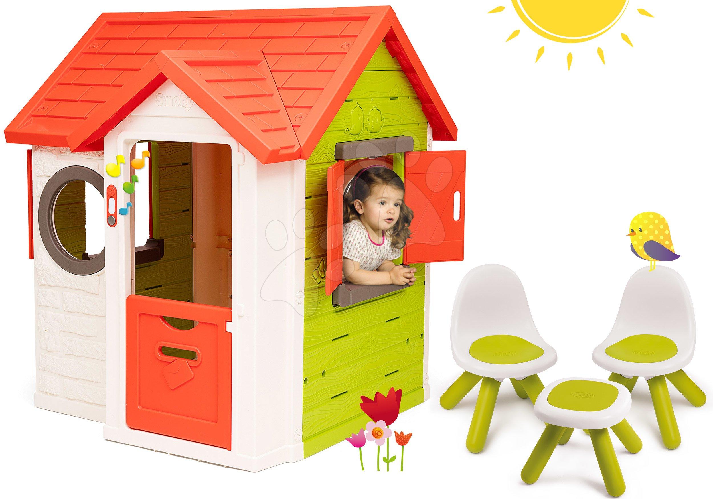 Szett házikó My Neo House DeLuxe Smoby csengővel, 2 ajtóval és 2 kisszék és kisasztal KidChair 24 hó-tól
