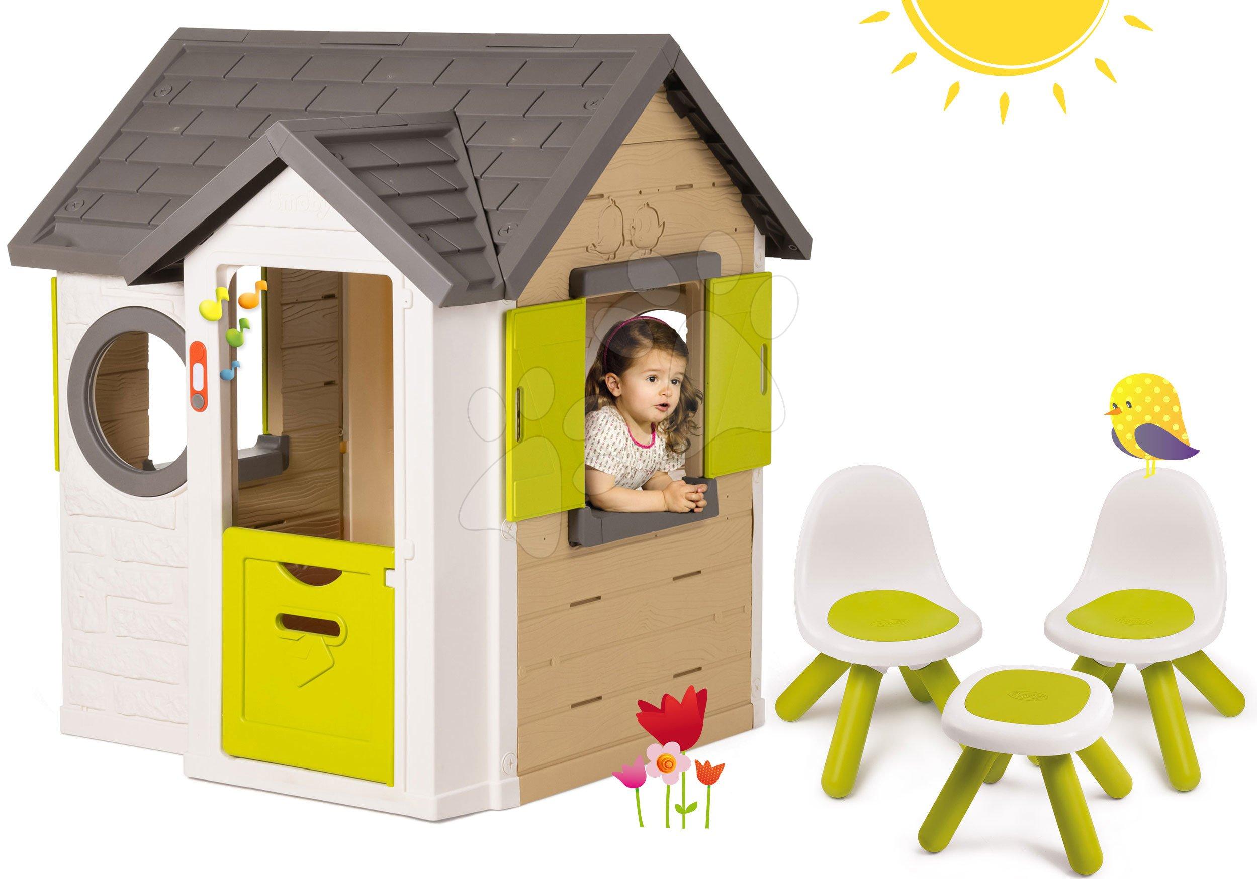 Smoby set domček My House so zvončekom a 2 dverami a 2 stoličky a stolček KidChair 810402-31