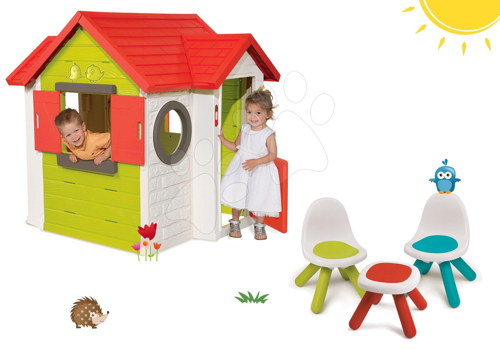 Szett házikó My House Smoby csengővel, 2 ajtóval és 2 kisszék és kisasztal KidChair 24 hó-tól