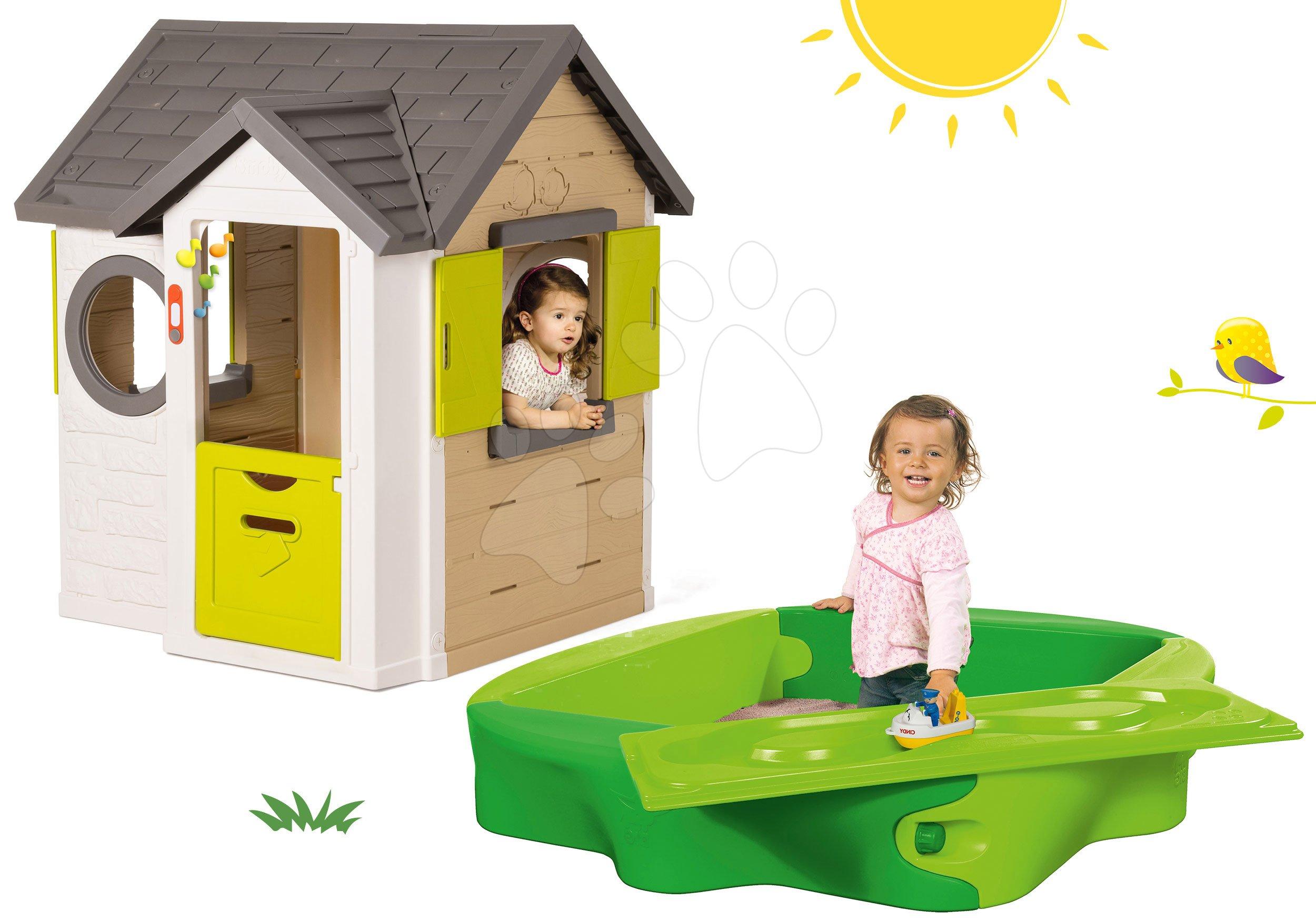 Smoby set domček My House so zvončekom a 2 dverami a pieskovisko s krytom a vodnou dráhou 810402-35