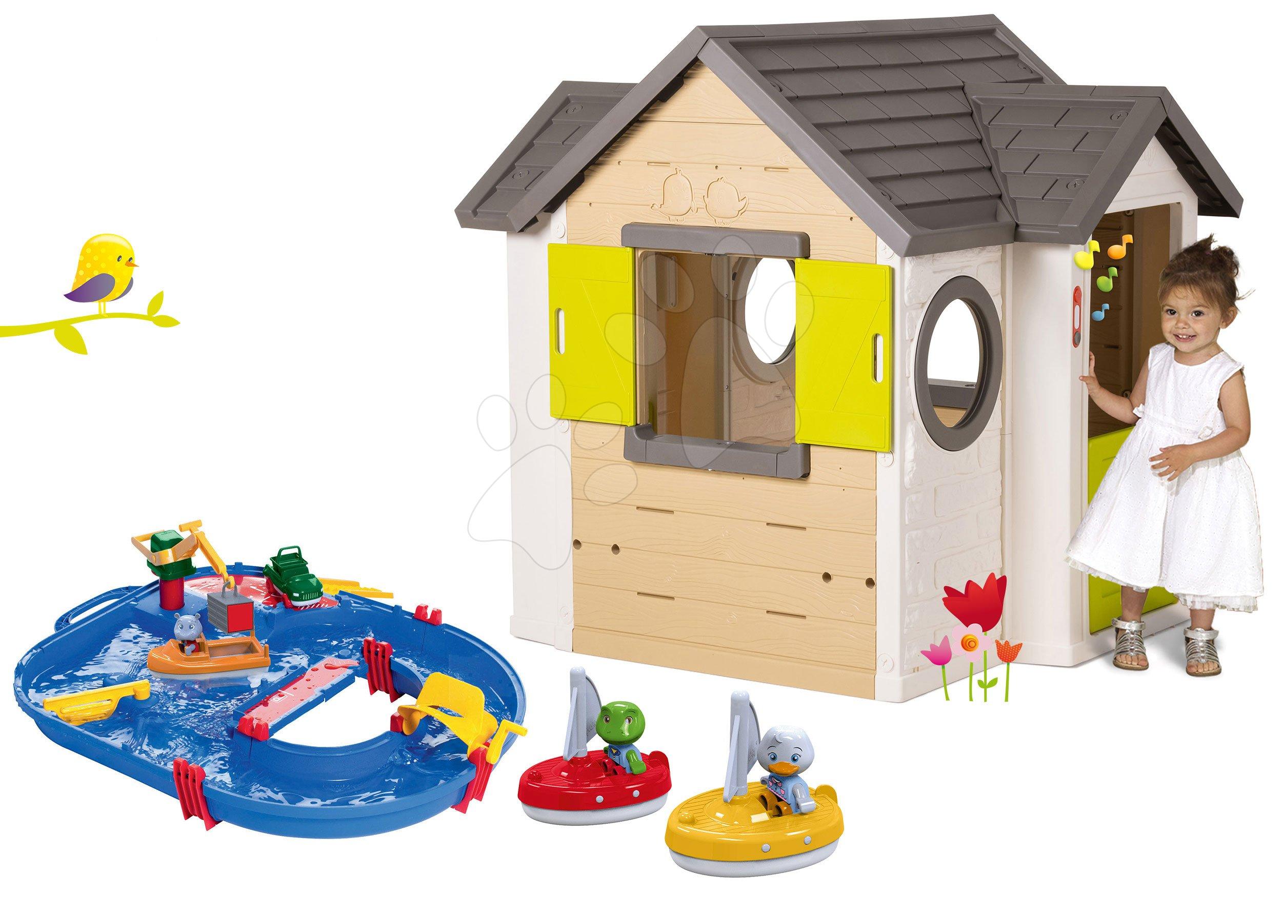 Smoby set domček My House so zvončekom a 2 dverami a vodná dráha Start Set s kontajnerom a plachetnice 810402-37