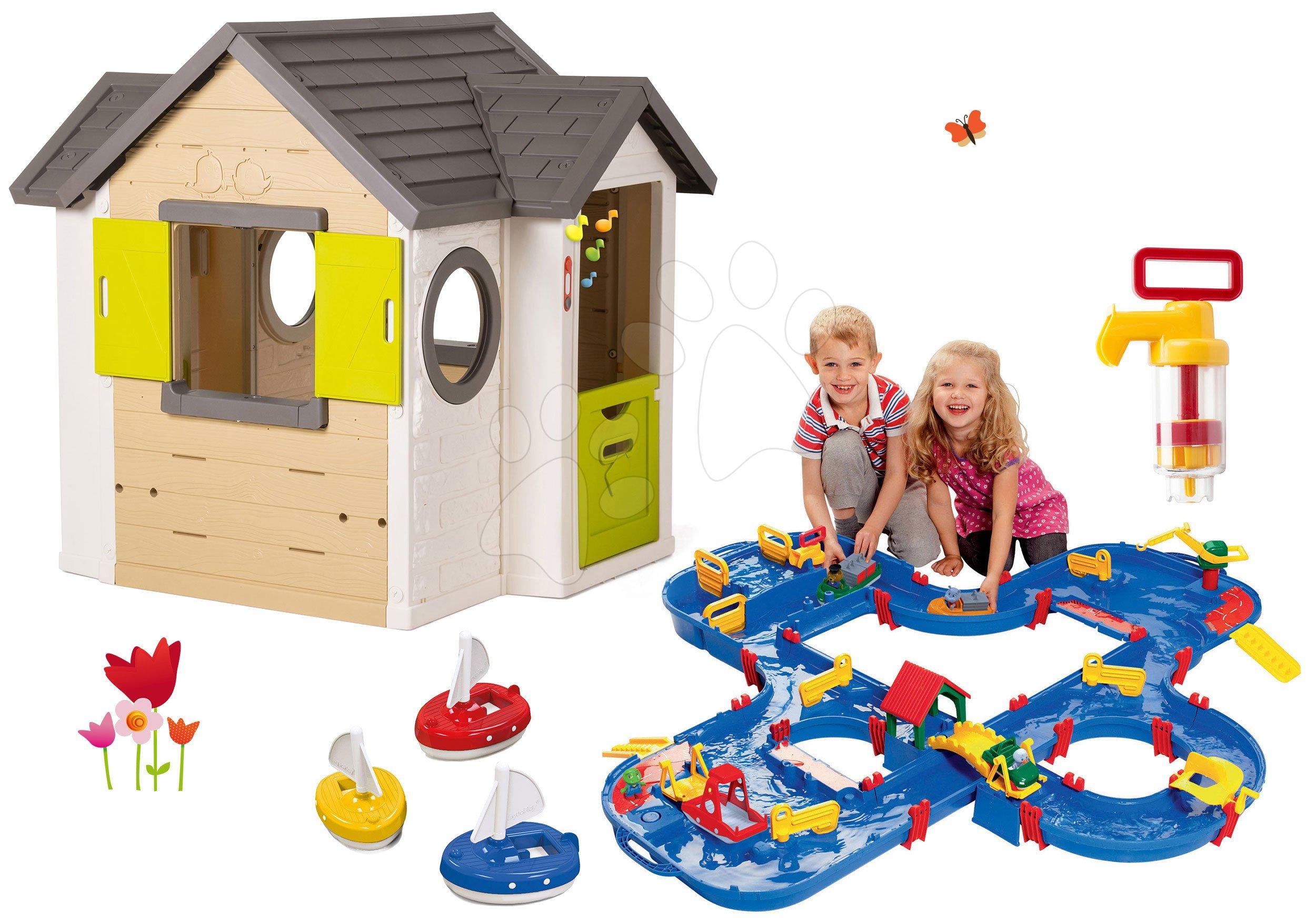 Smoby set domček My House so zvončekom a 2 dverami a vodná dráha v kufríku s plachetnicami a pumpou 810402-38