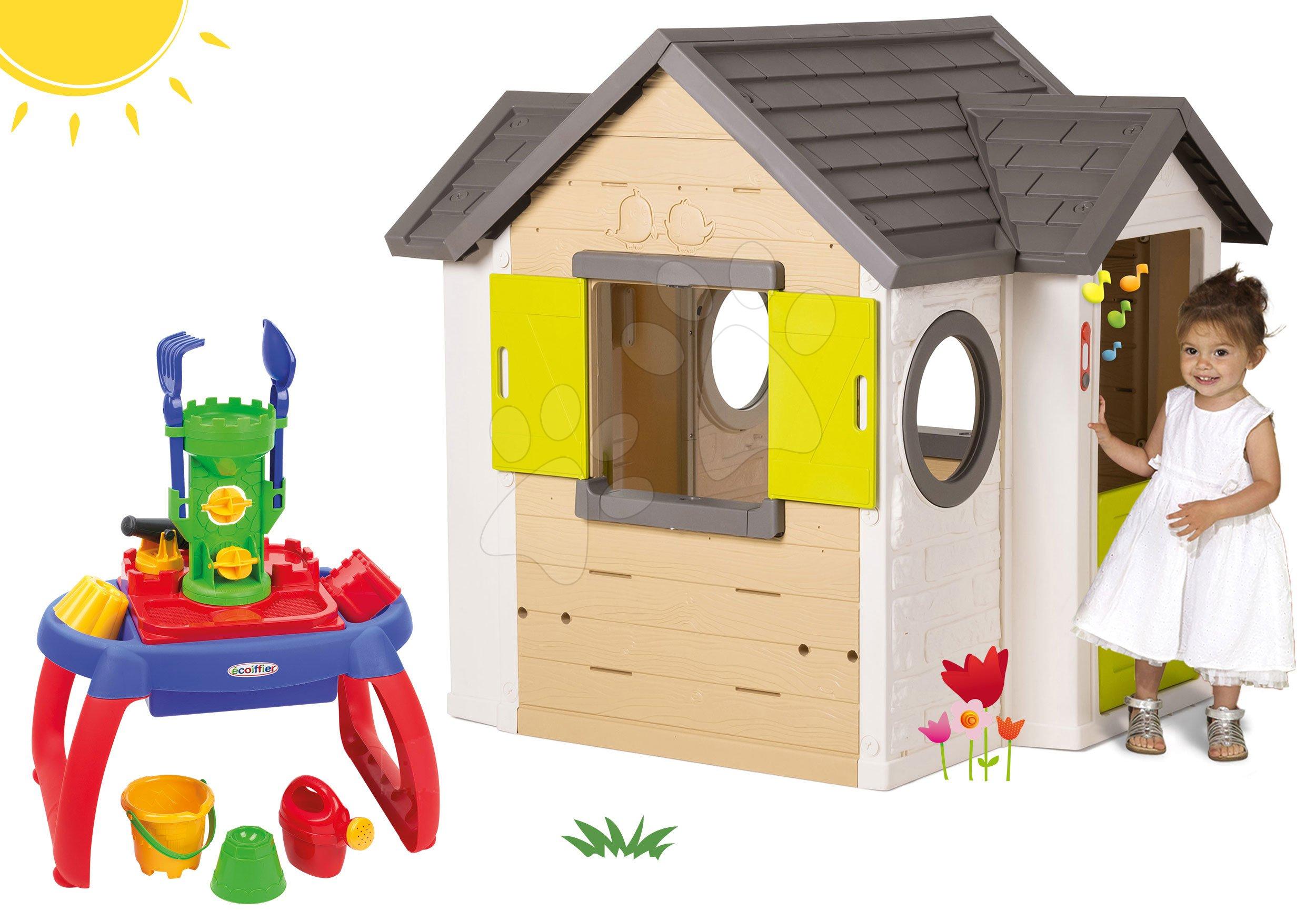 Smoby set domček My House so zvončekom a 2 dverami a pieskovisko stolík na vodu a piesok 810402-40