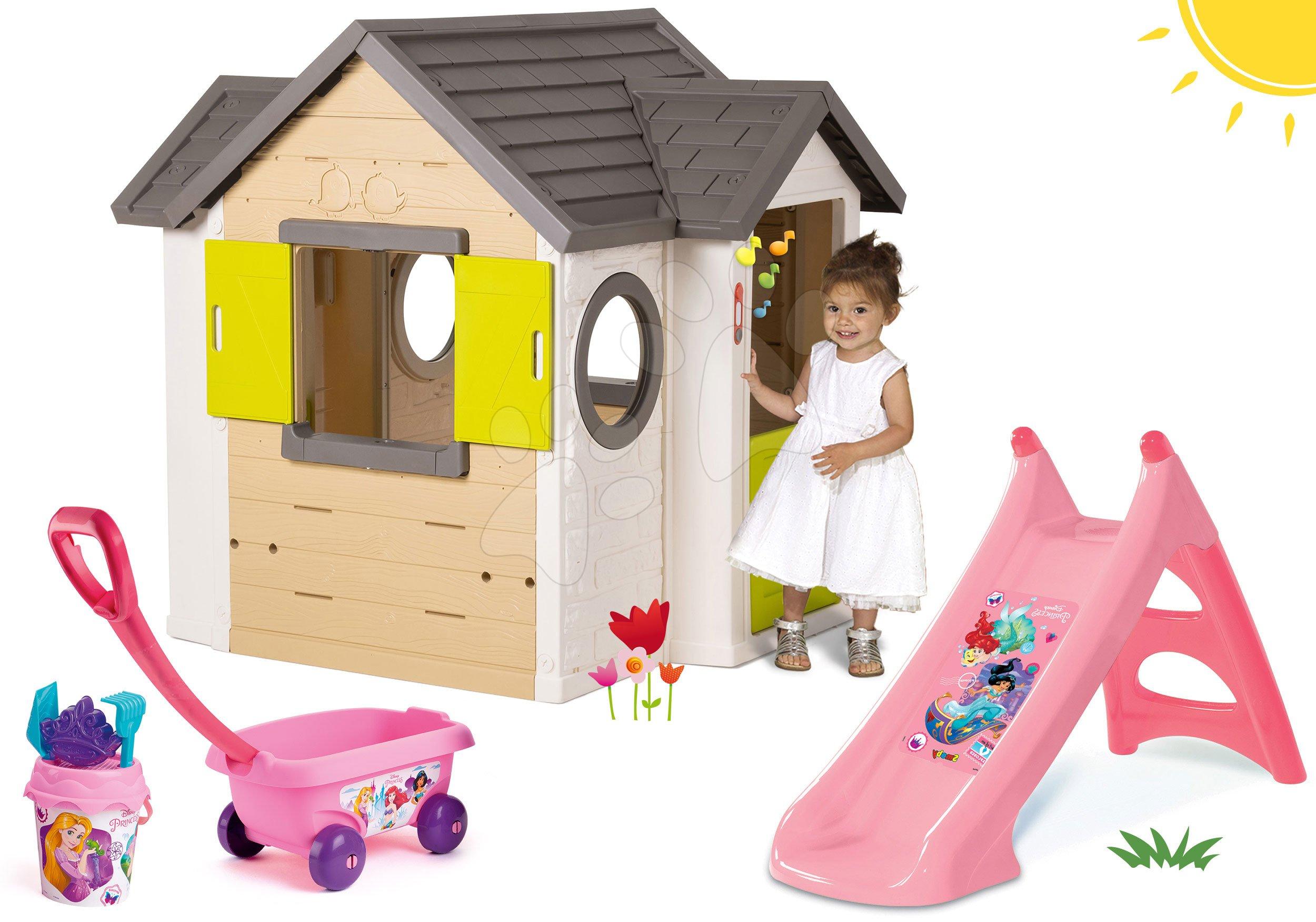 Kućice s toboganom  - Set kućica My Neo House DeLuxe Smoby sa zvoncem i dvoma vratima te tobogan Princeze Toboggan s kolicima od 24 mjeseca