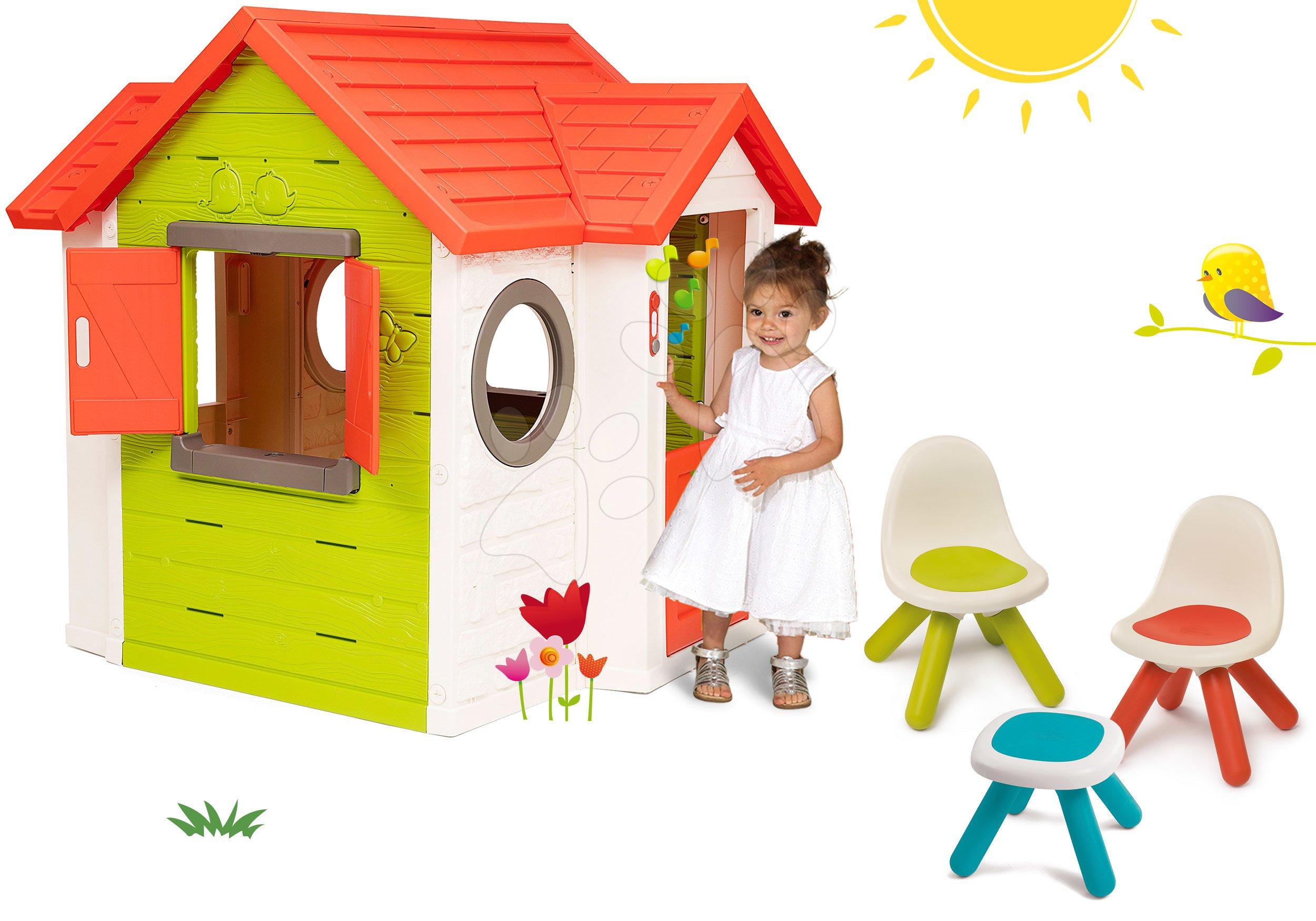 Set domeček My Neo House DeLuxe Smoby s elektronickým zvonkem a Piknik stolek se dvěma židlemi KidChair Red od 24 měs