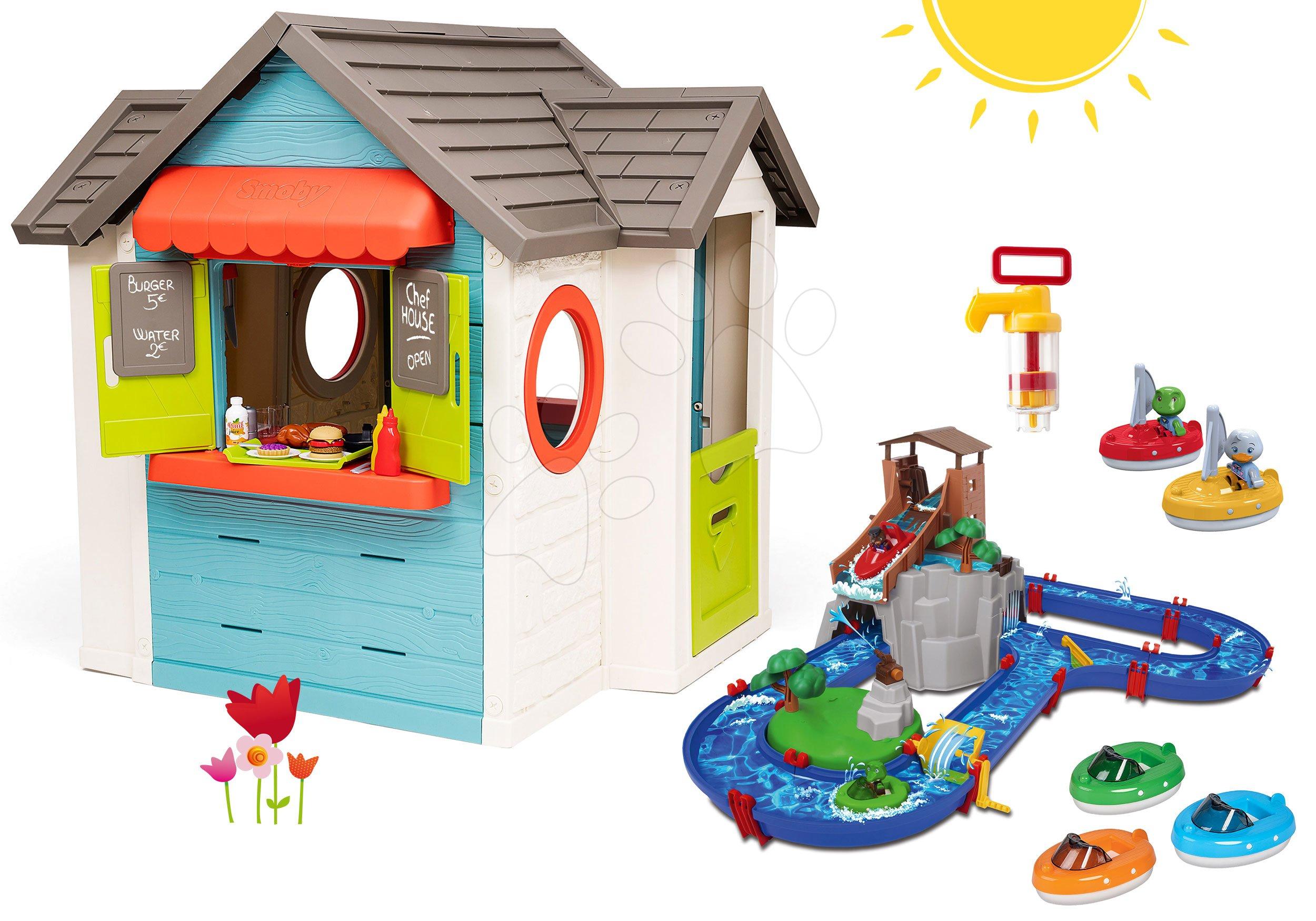 Set domček so záhradnou reštauráciou Chef House DeLuxe Smoby a vodná dráha AquaPlay Adventure Land s dobrodružstvom