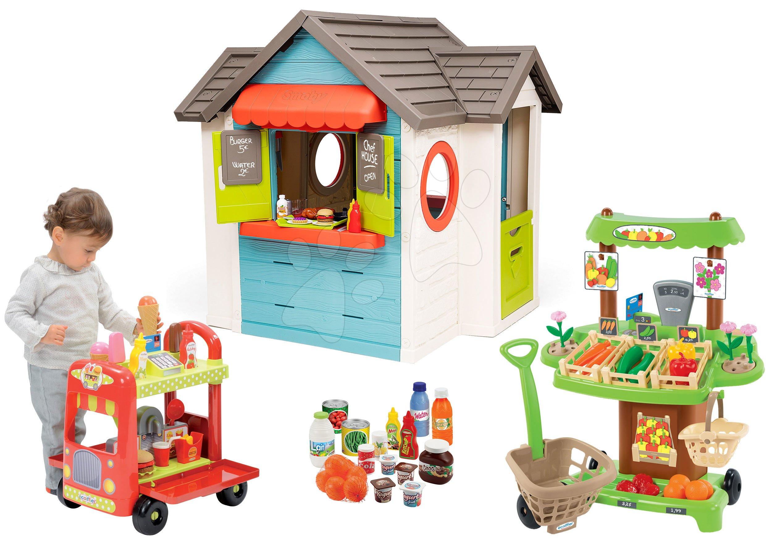 Set domček so záhradnou reštauráciou Chef House DeLuxe Smoby a zeleninový Bio stánok so zmrzlinárskym vozíkom a potravinami