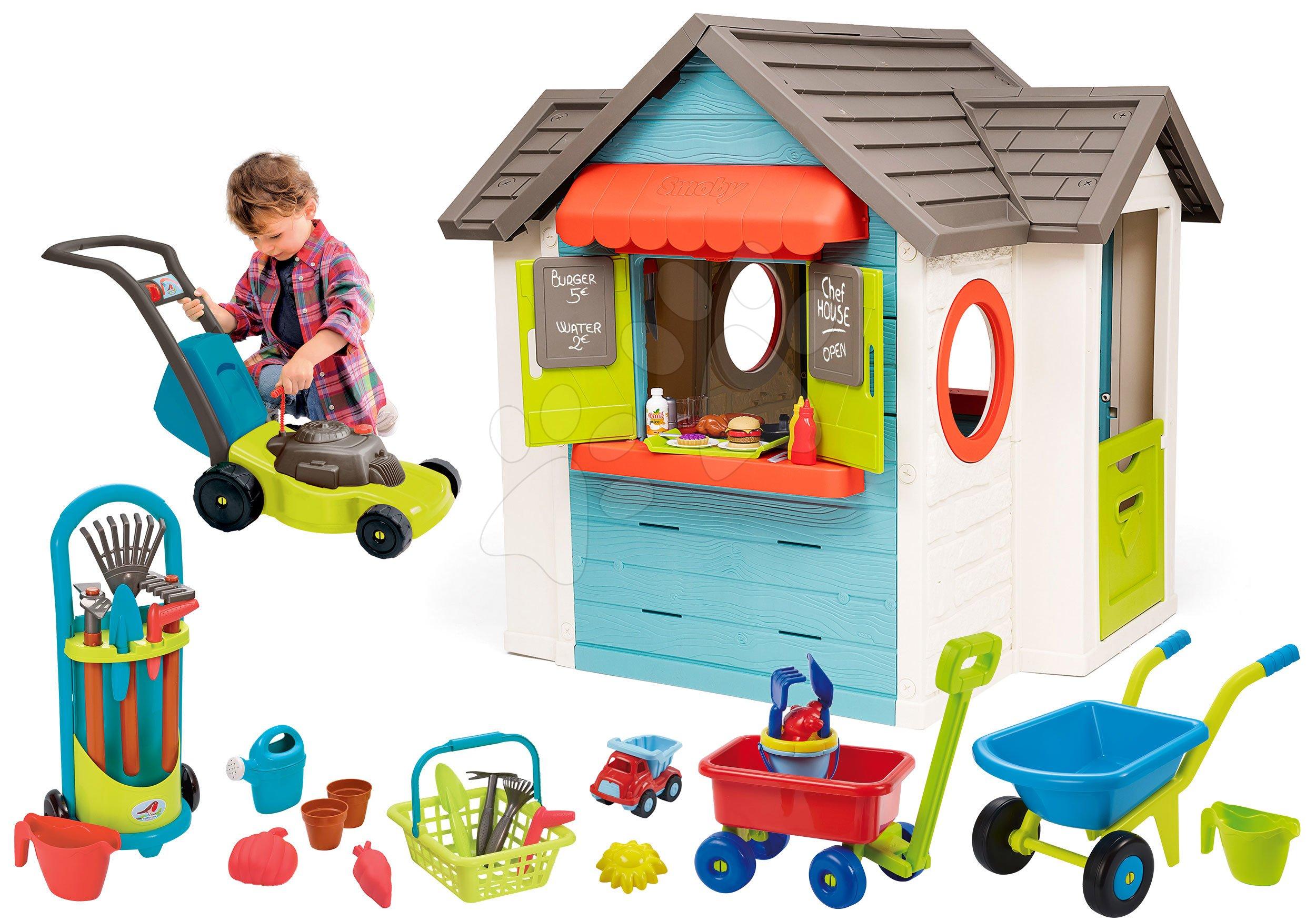 Set domček so záhradnou reštauráciou Chef House DeLuxe Smoby a kosačka s fúrikom a vozík s vedrom a záhradným náradím