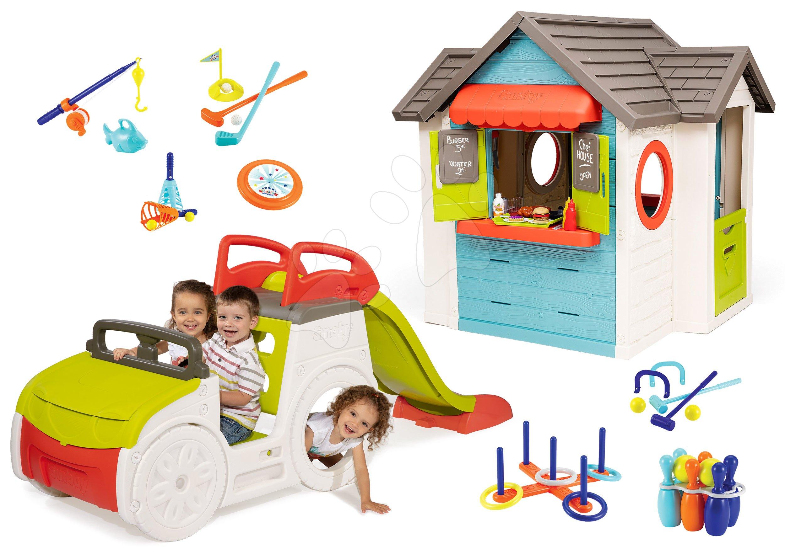 Set domček so záhradnou reštauráciou Chef House DeLuxe Smoby a preliezačka s pieskoviskom a šmykľavkou a športové hry na záhradu