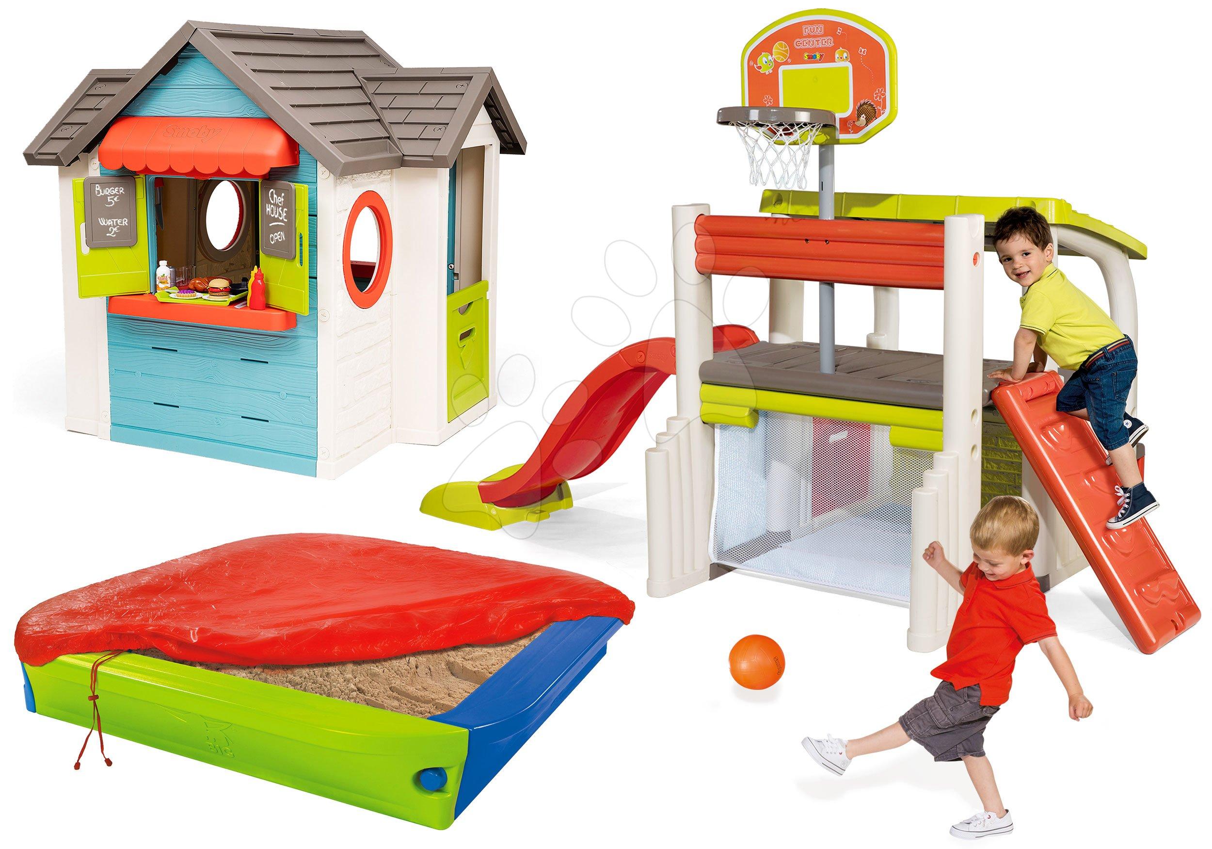 Set căsuță cu restaurant de grădină Chef House DeLuxe Smoby și centru sportiv de joacă cu coș de baschet și nisipar cu prelată