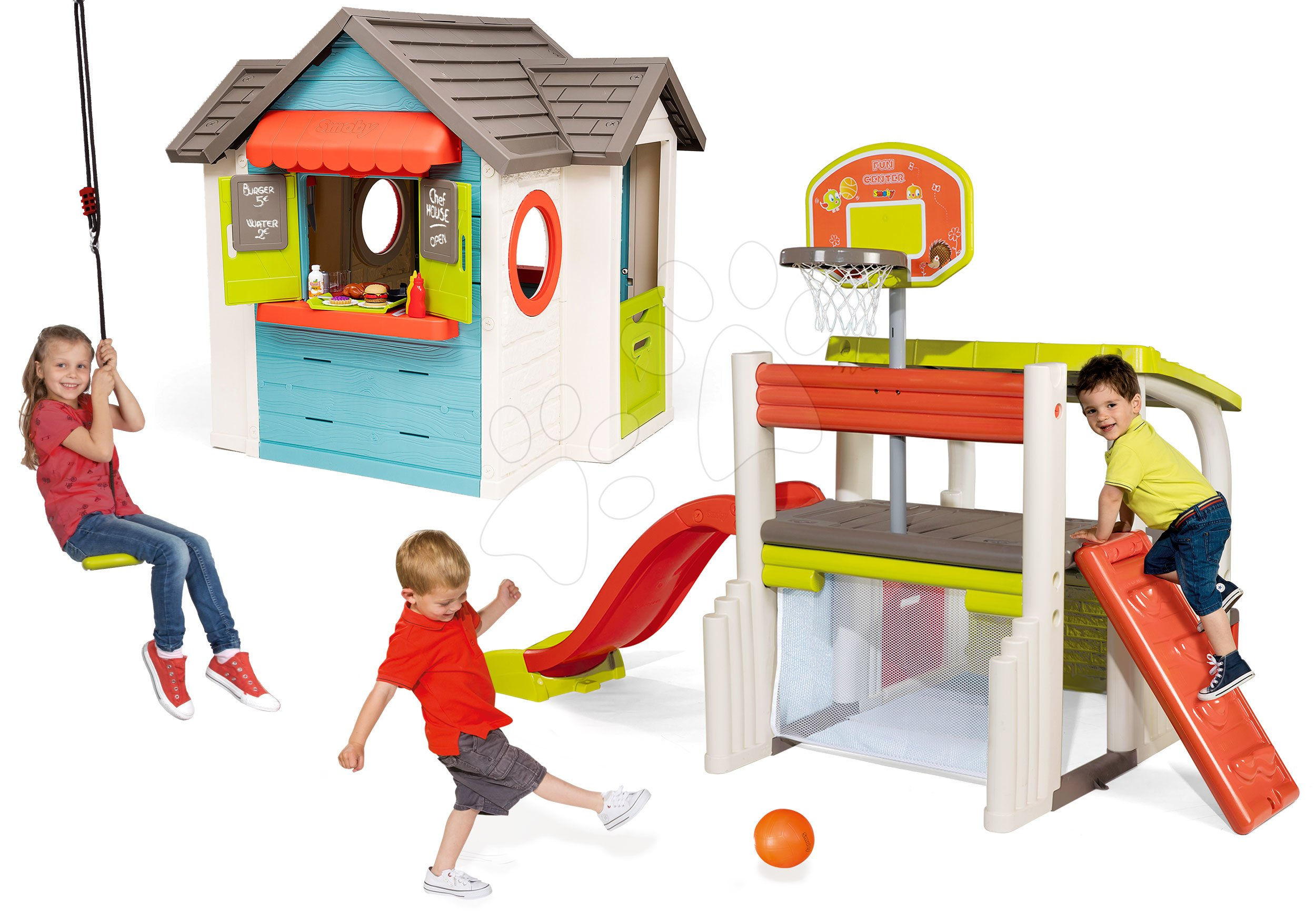 Set căsuță cu restaurant de grădină Chef House DeLuxe Smoby și centru sportiv de joacă cu coș de baschet și leagăn