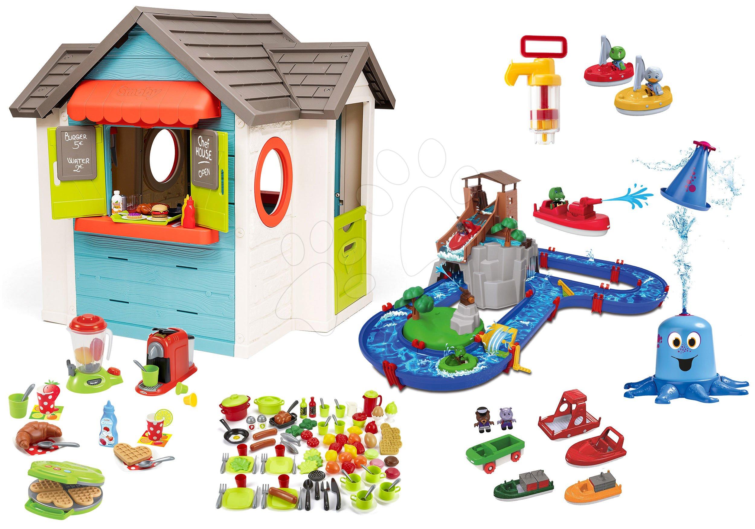 Set domček so záhradnou reštauráciou Chef House DeLuxe Smoby a vodná dráha AquaPlay Adventure Land s dobrodružstvom a potravinami