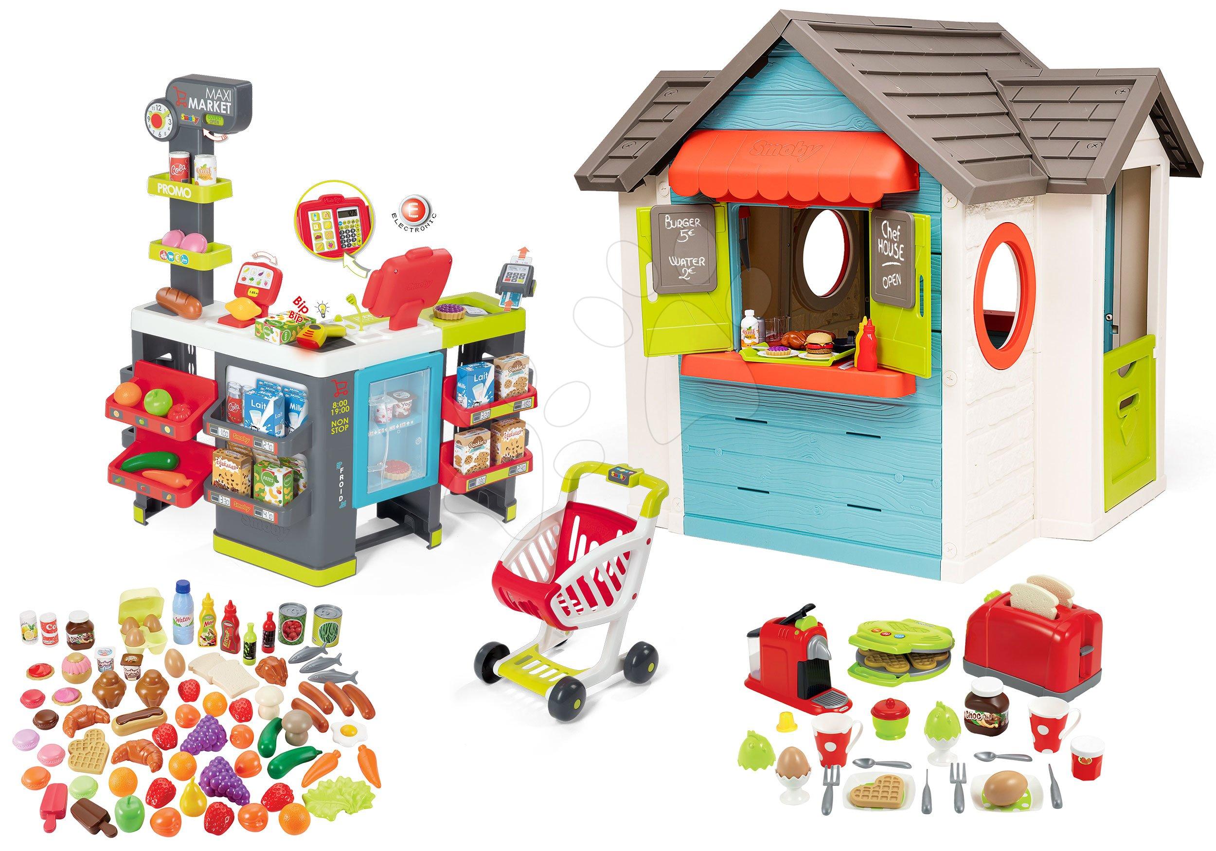Set domček so záhradnou reštauráciou Chef House DeLuxe Smoby a obchod Maxi Market s chladiacim boxom a potravinami