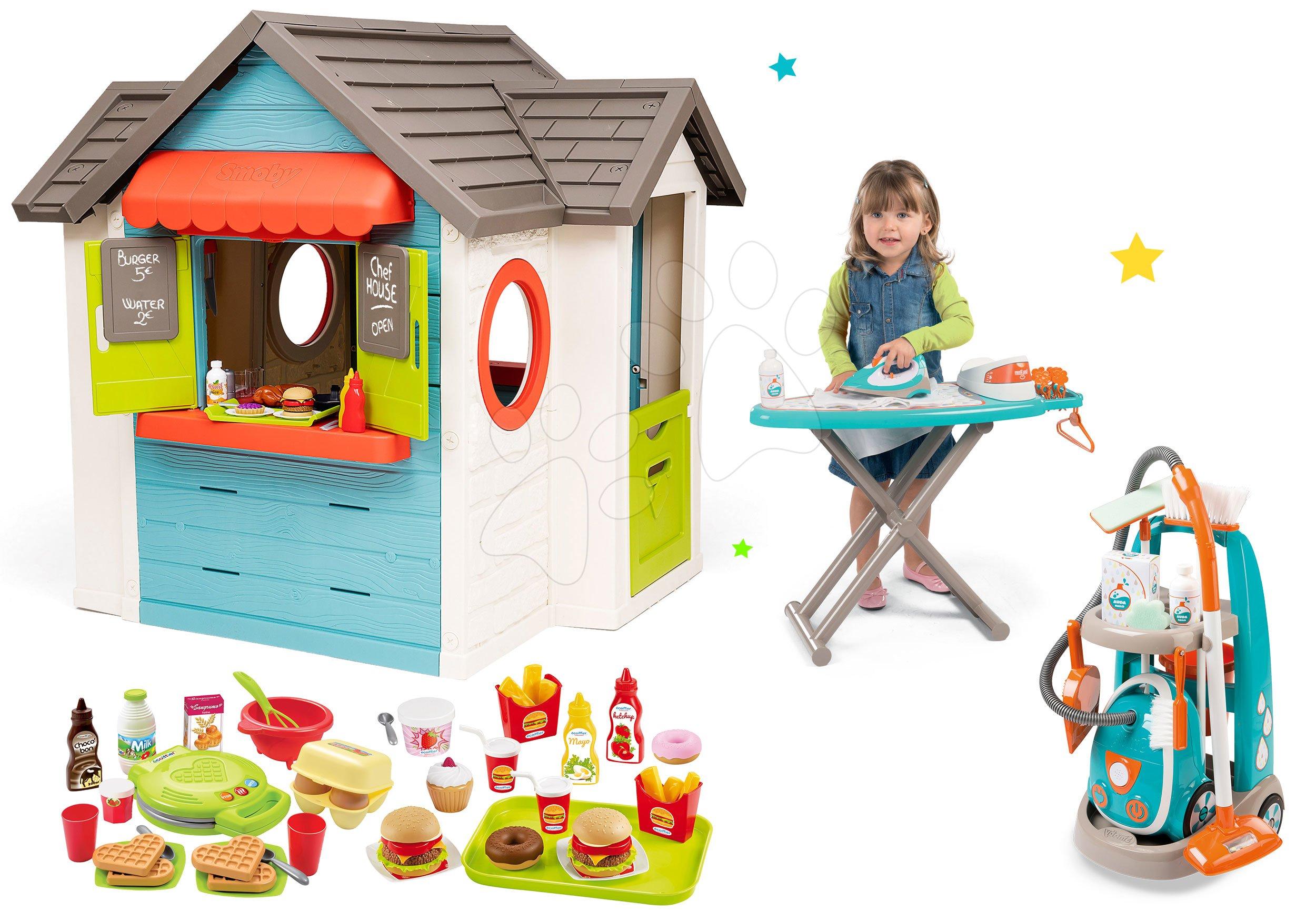 Set domček so záhradnou reštauráciou Chef House DeLuxe Smoby a upratovací vozík so žehliacou doskou a vaflovač s hamburgermi