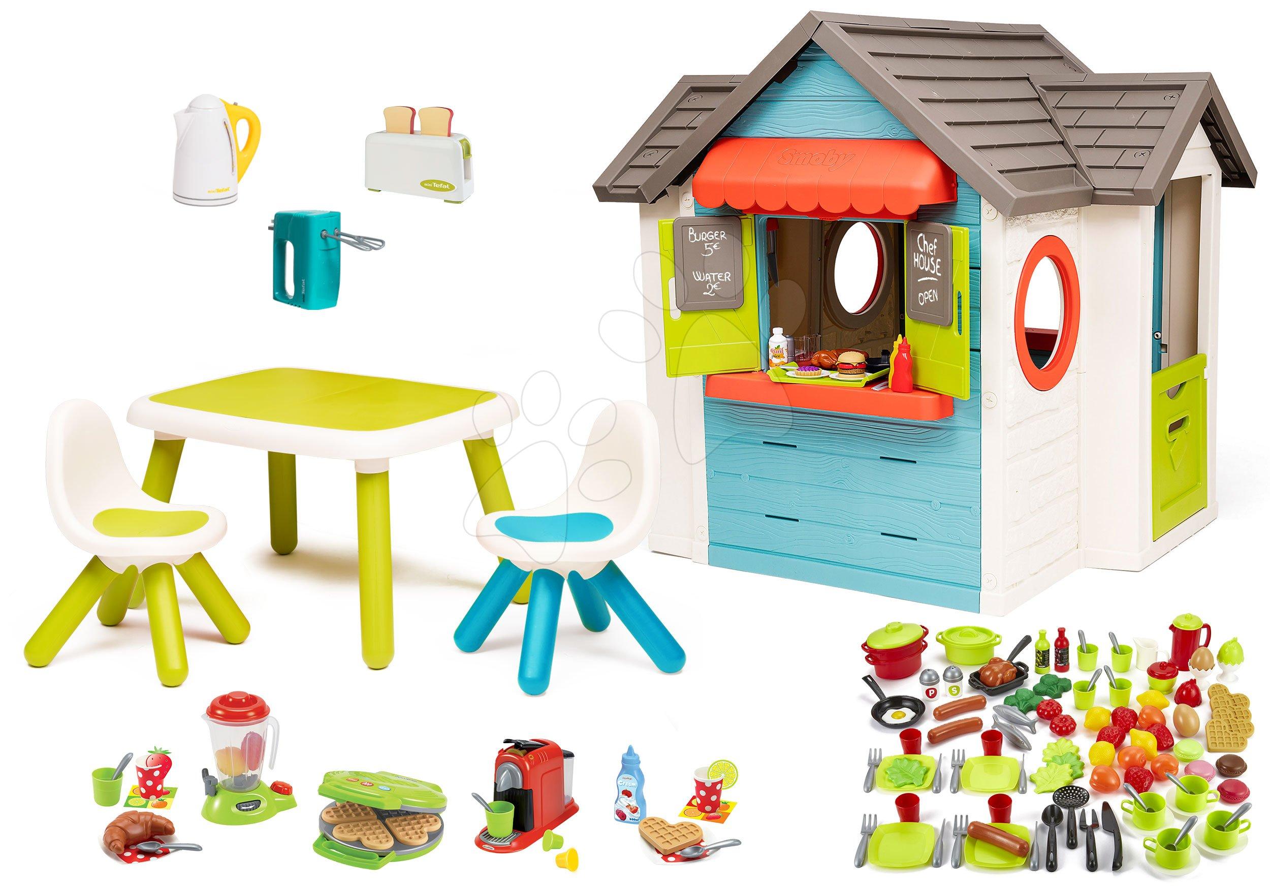Set domeček se zahradní restaurací Chef House DeLuxe Smoby a se stolem a židlemi a spotřebiče s potravinami