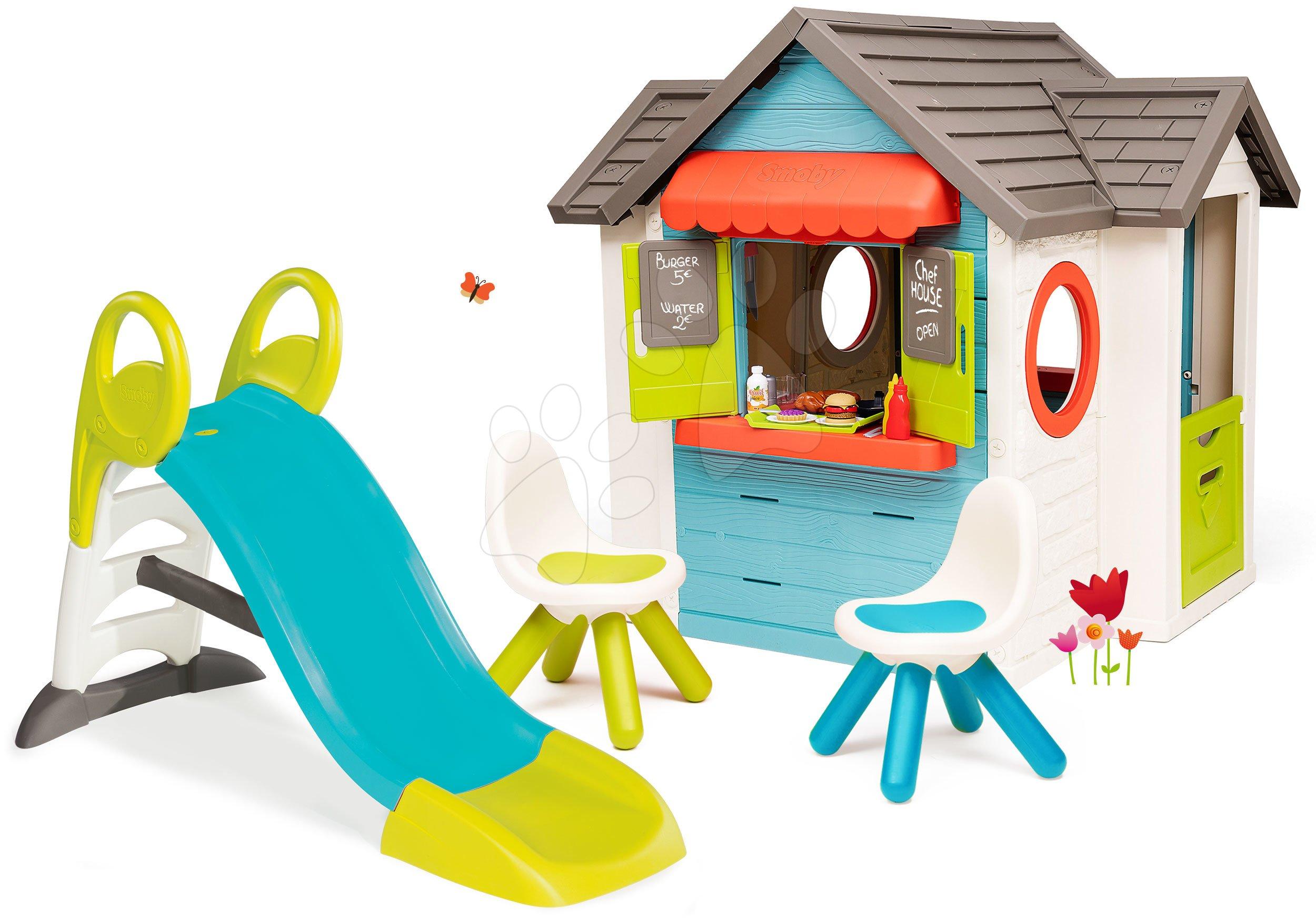 Set domček so záhradnou reštauráciou Chef House DeLuxe Smoby a šmykľavka 150 cm s vodnou hrou a dve stoličky