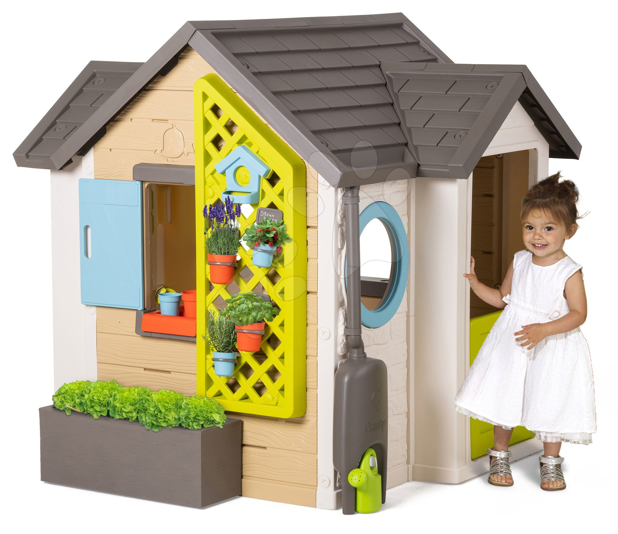 Căsuțe de grădină pentru copii  - Găsuță pentru grădinar Garden House Smoby cu ghivece de flori extensibilă cu burlan, grilaj cu căsuță pentru păsări 135 cm înălțime și filtru anti UV