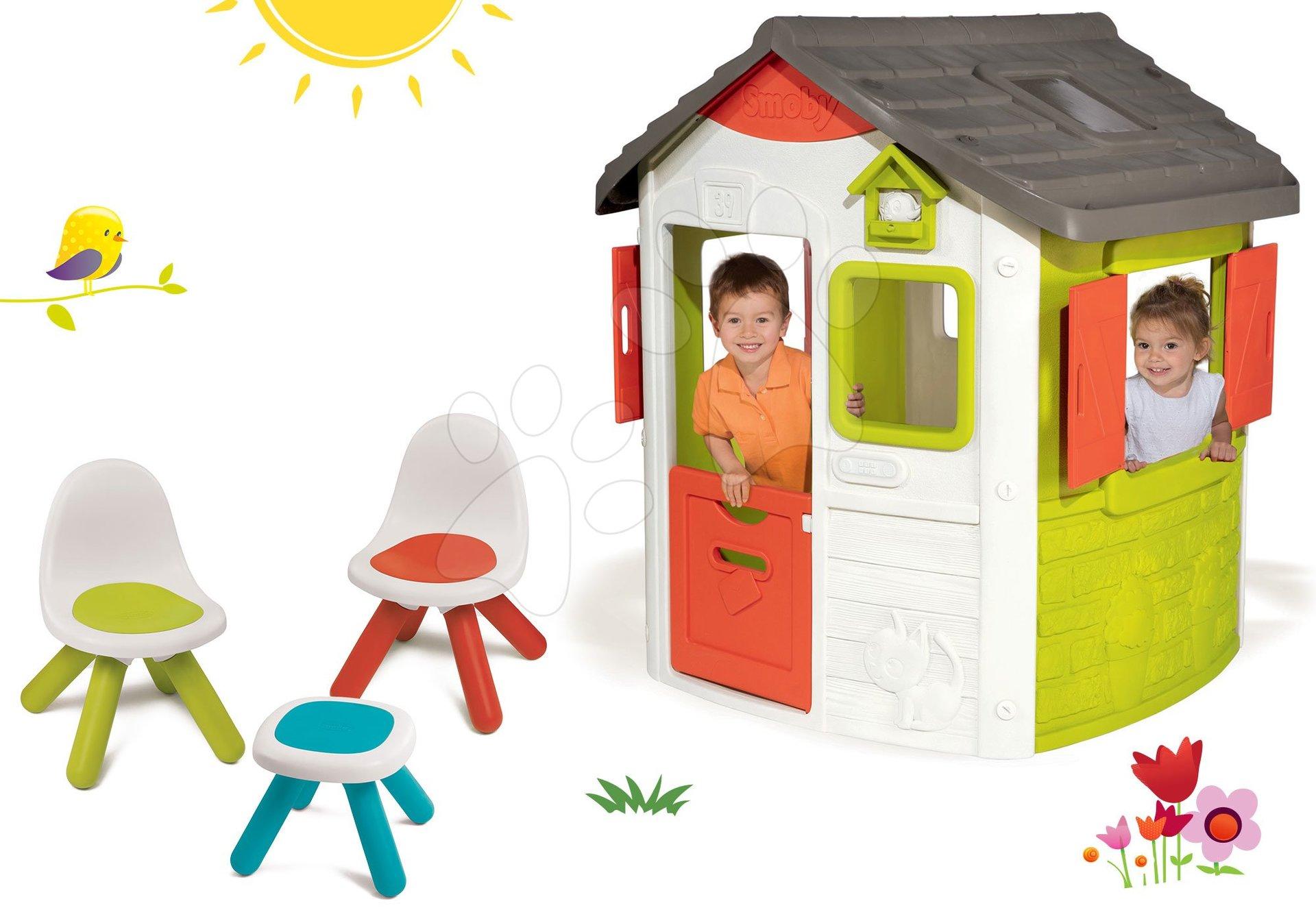 Domčeky s nábytkom - Set domček Neo Jura Lodge Smoby s dvoma dverami a piknik stolík s dvoma stoličkami KidChair Red