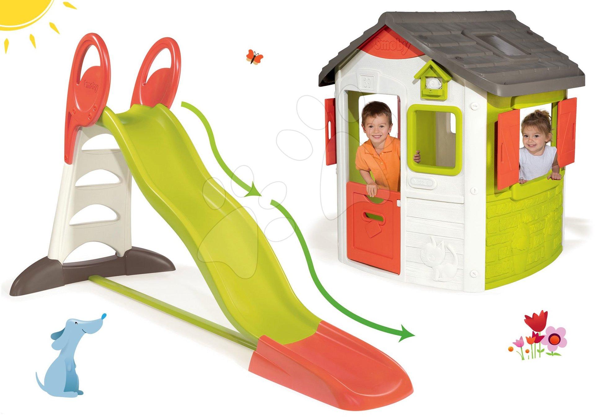 Domčeky so šmykľavkou - Set domček Neo Jura Lodge Smoby s dvoma dverami a šmykľavka Toboggan XL s dĺžkou 2,3 m a dvojitou vlnou od 24 mes