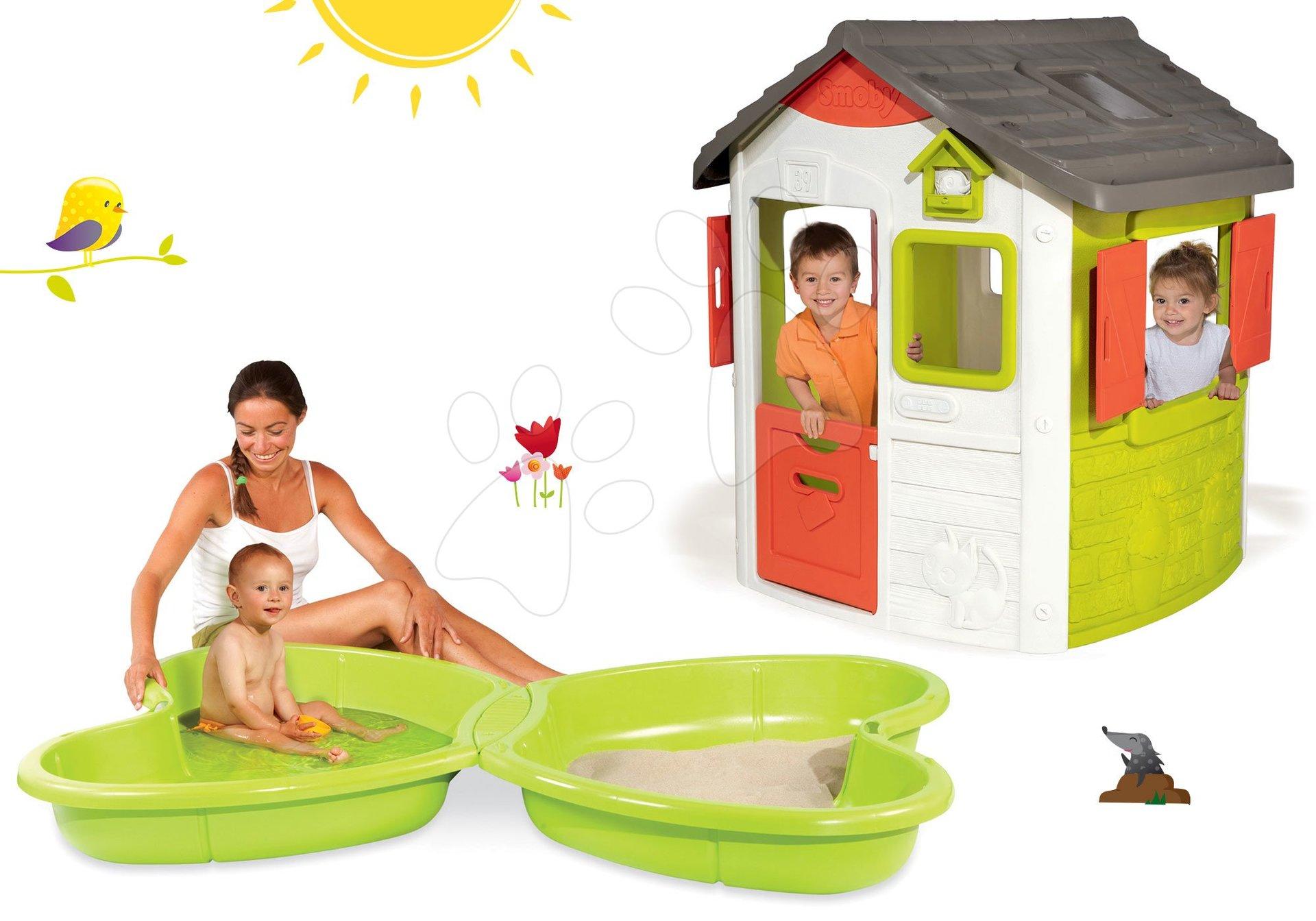 Smoby domeček pro děti Jura Lodge a pískoviště Motýl 810500-11