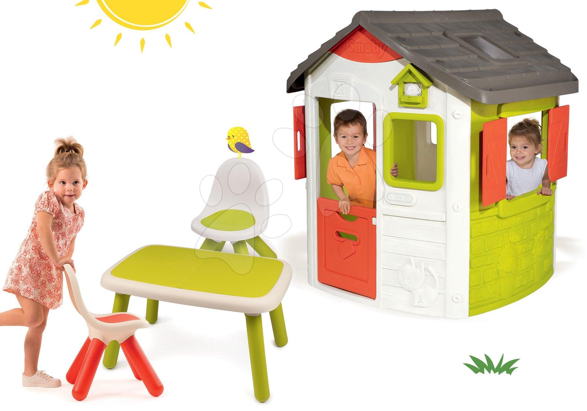 Smoby set domček Jura Lodge s dvoma dverami a 3 stoličky Kid Chair 810500-22