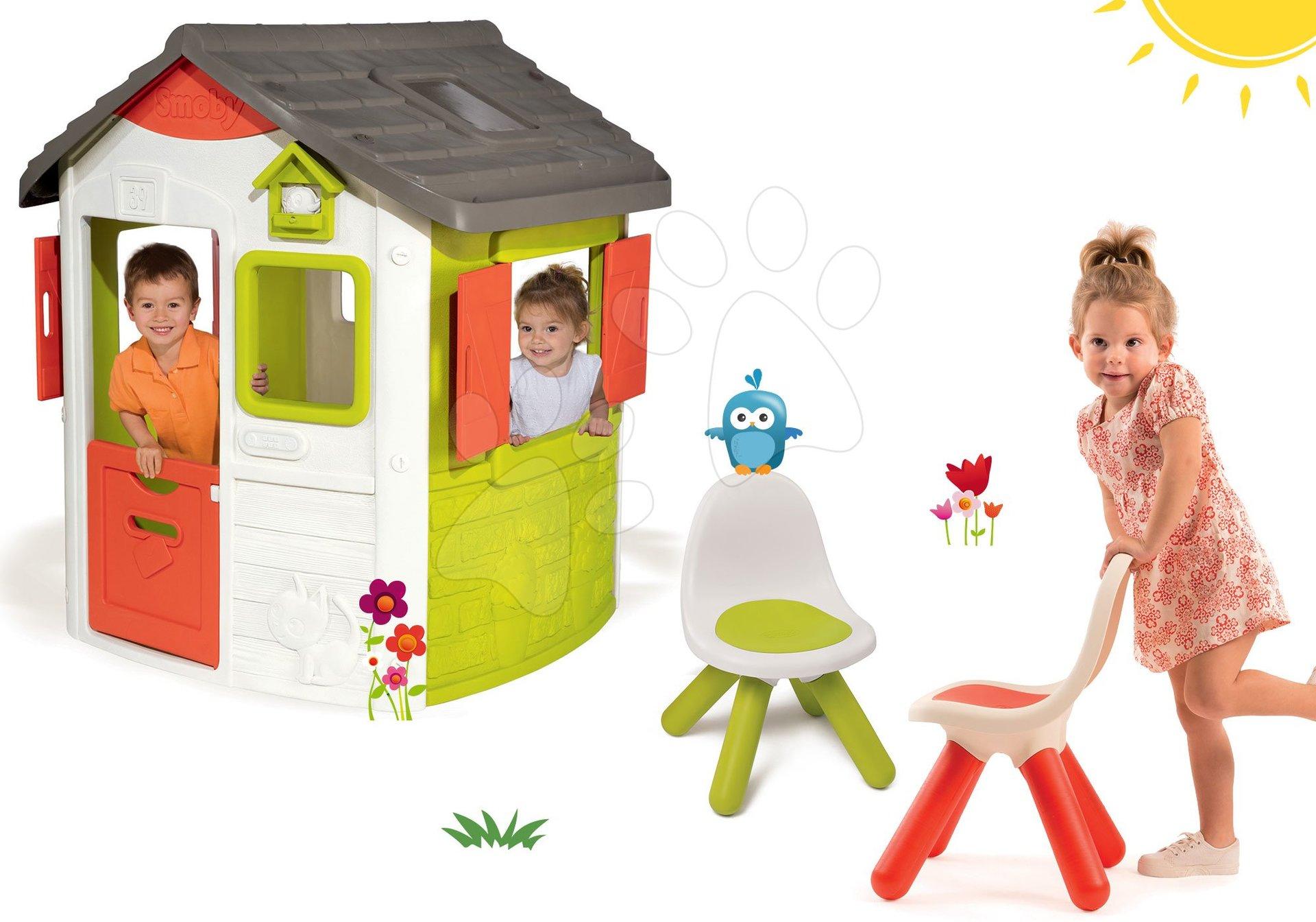 Smoby set domček Jura Lodge s dvoma dverami a 2 stoličky Kid Chair 810500-31