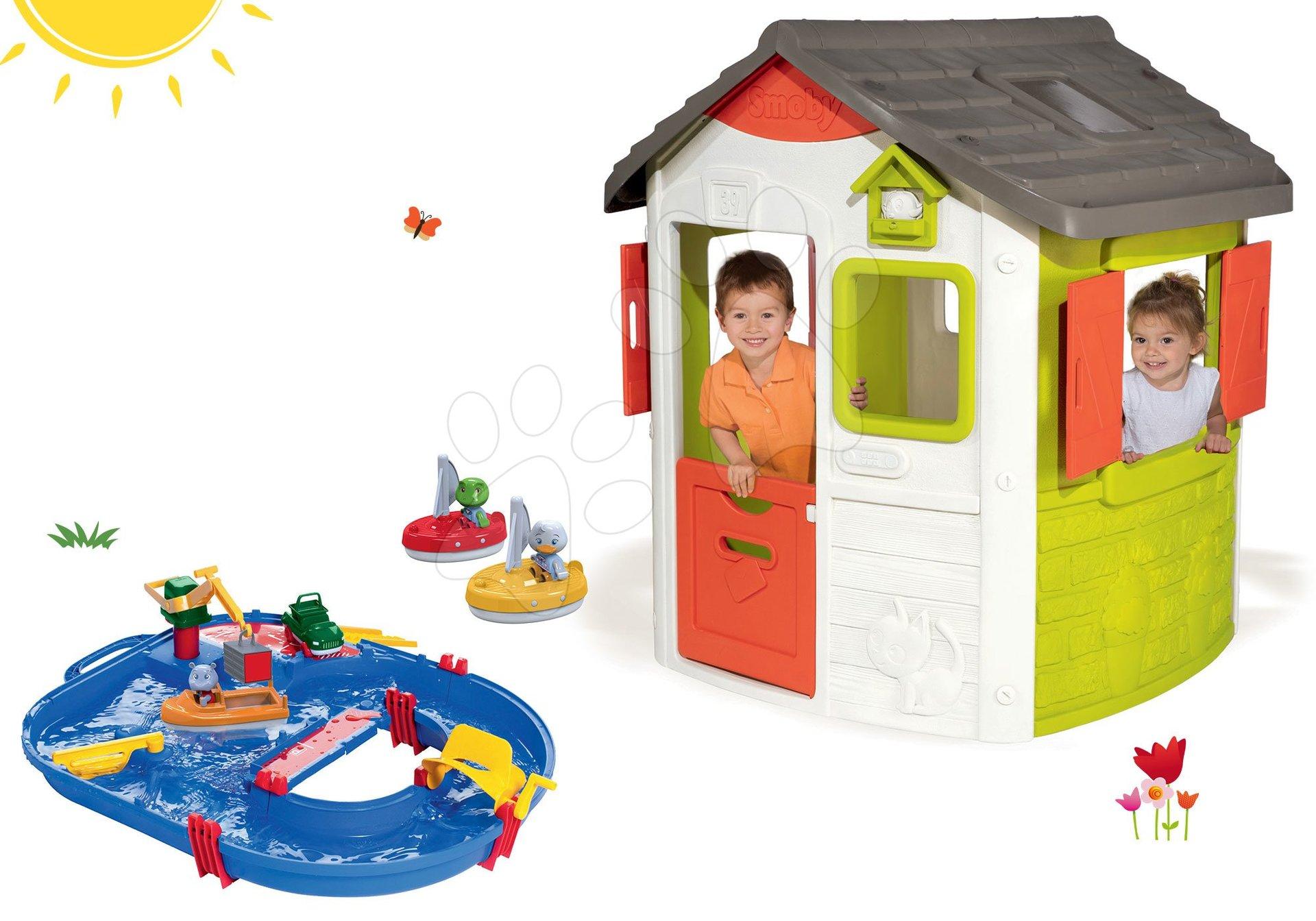 Smoby set domček Jura Lodge s dvoma dverami a vodná dráha AquaPlay Start Set s kontajnerom a 2 plachetnice 810500-33