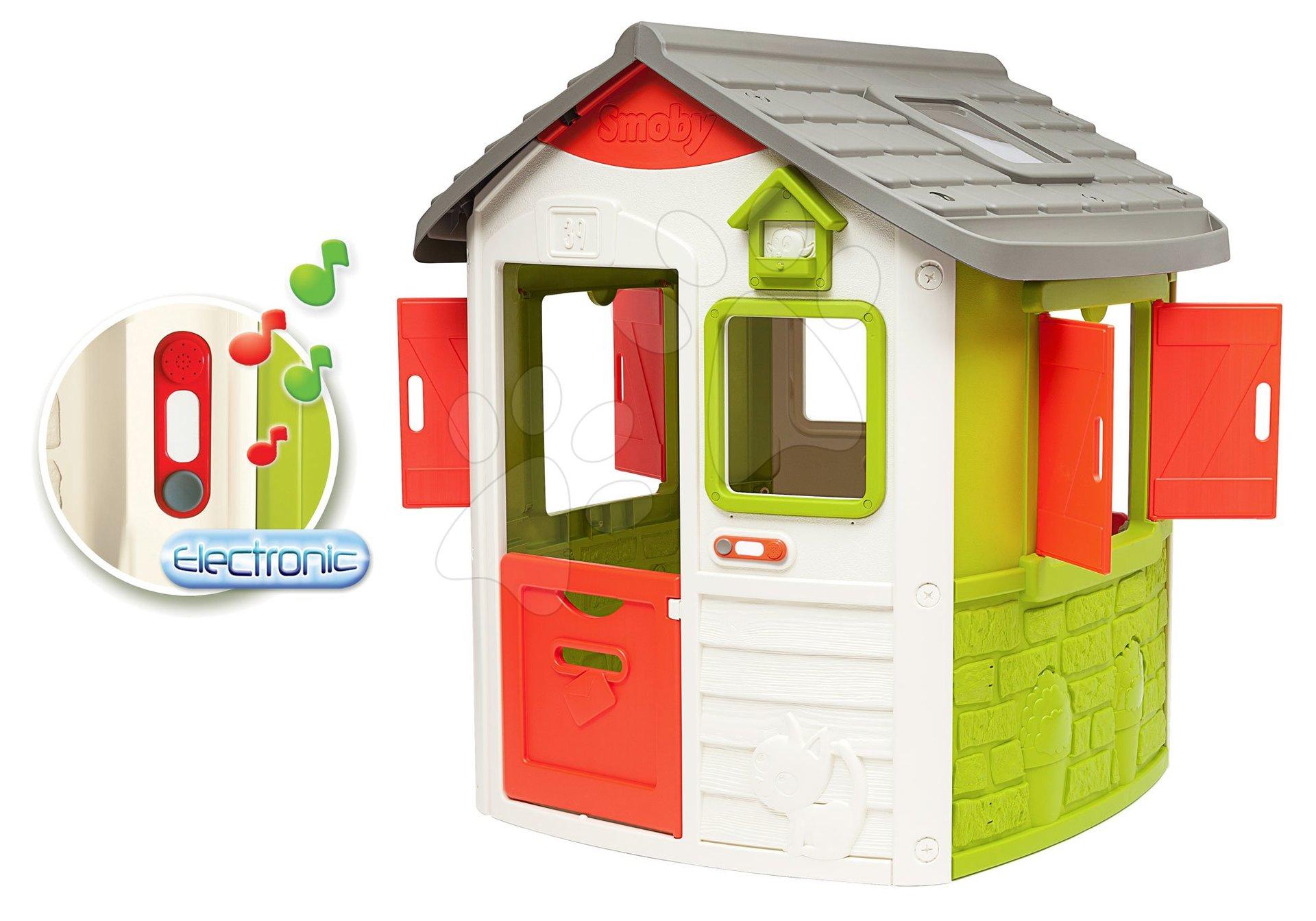 Set domček Neo Jura Lodge Smoby s dvoma dverami a darček elektronický zvonček