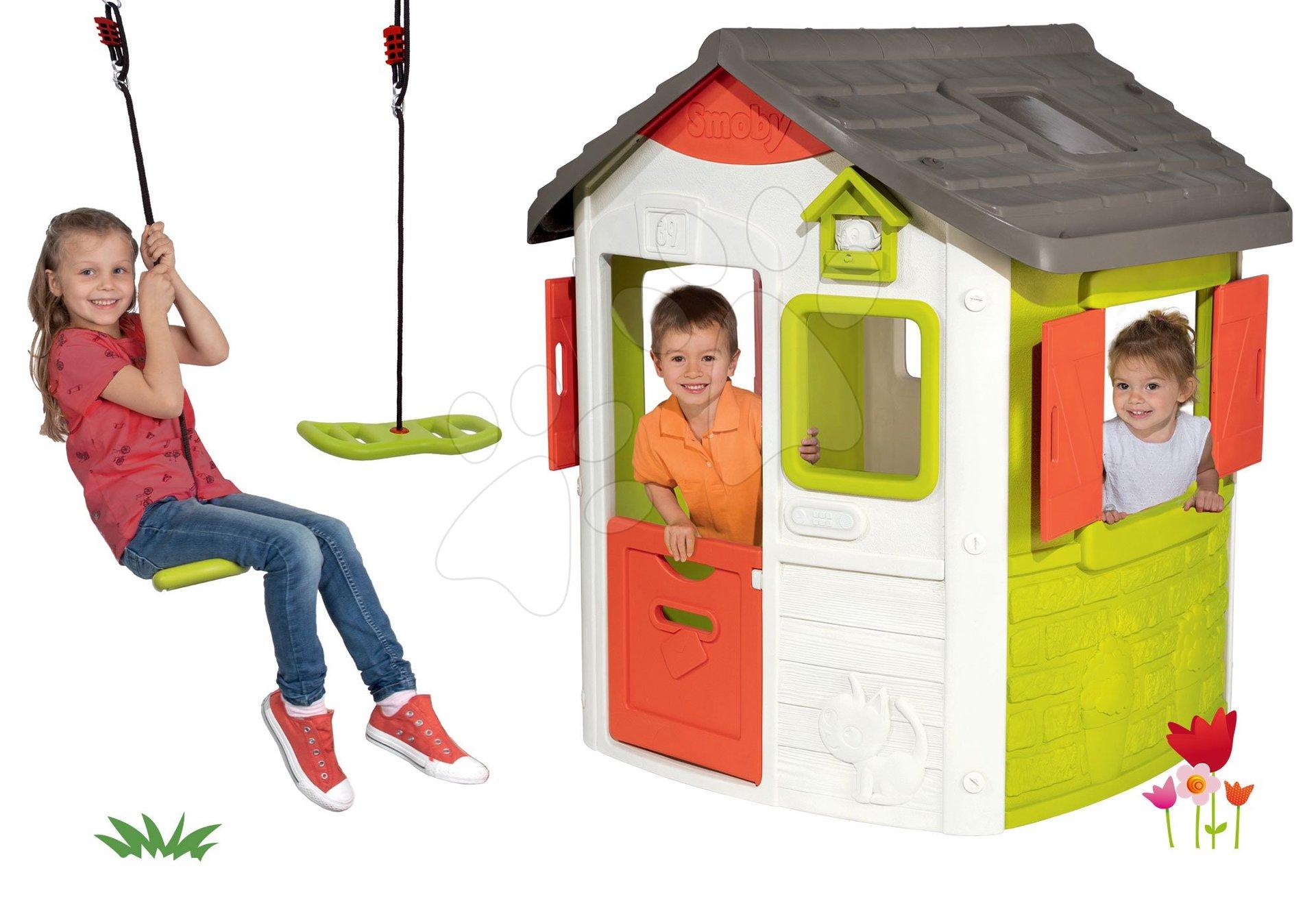 Set domček Neo Jura Lodge Smoby s dvoma dverami a darček výškovo nastaviteľná hojdačka Activity Swing