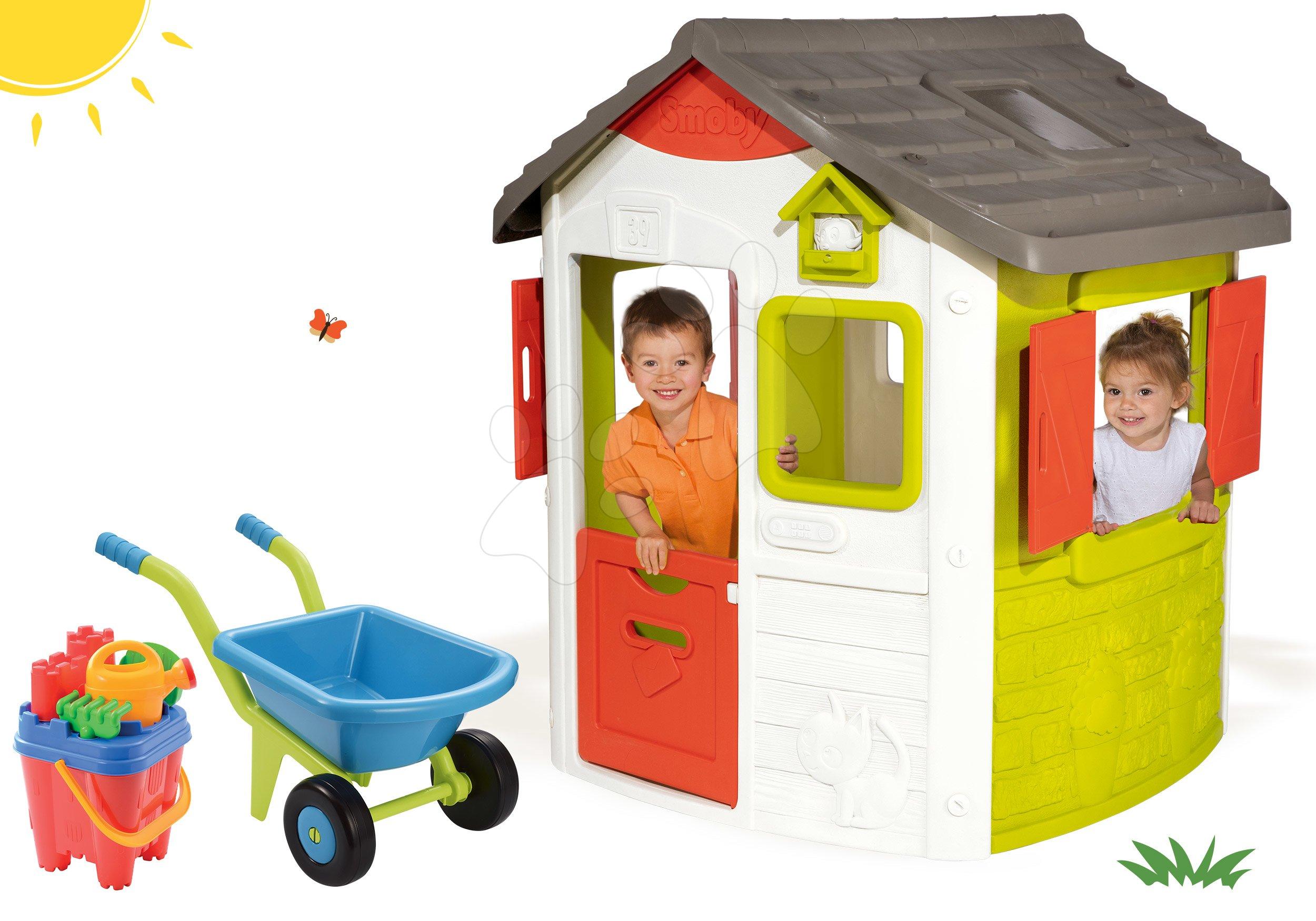 Domčeky pre deti - Set domček Neo Jura Lodge Smoby a fúrik s vedro setom od 24 mes