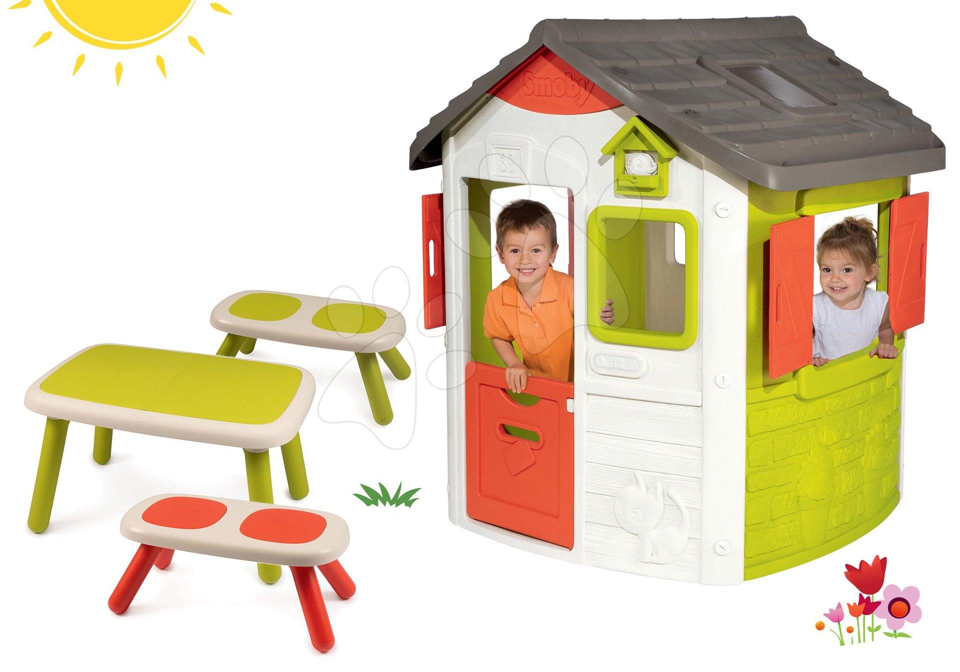 Set domček Neo Jura Lodge Smoby s dvoma dverami a stôl s dvoma lavicami KidBench