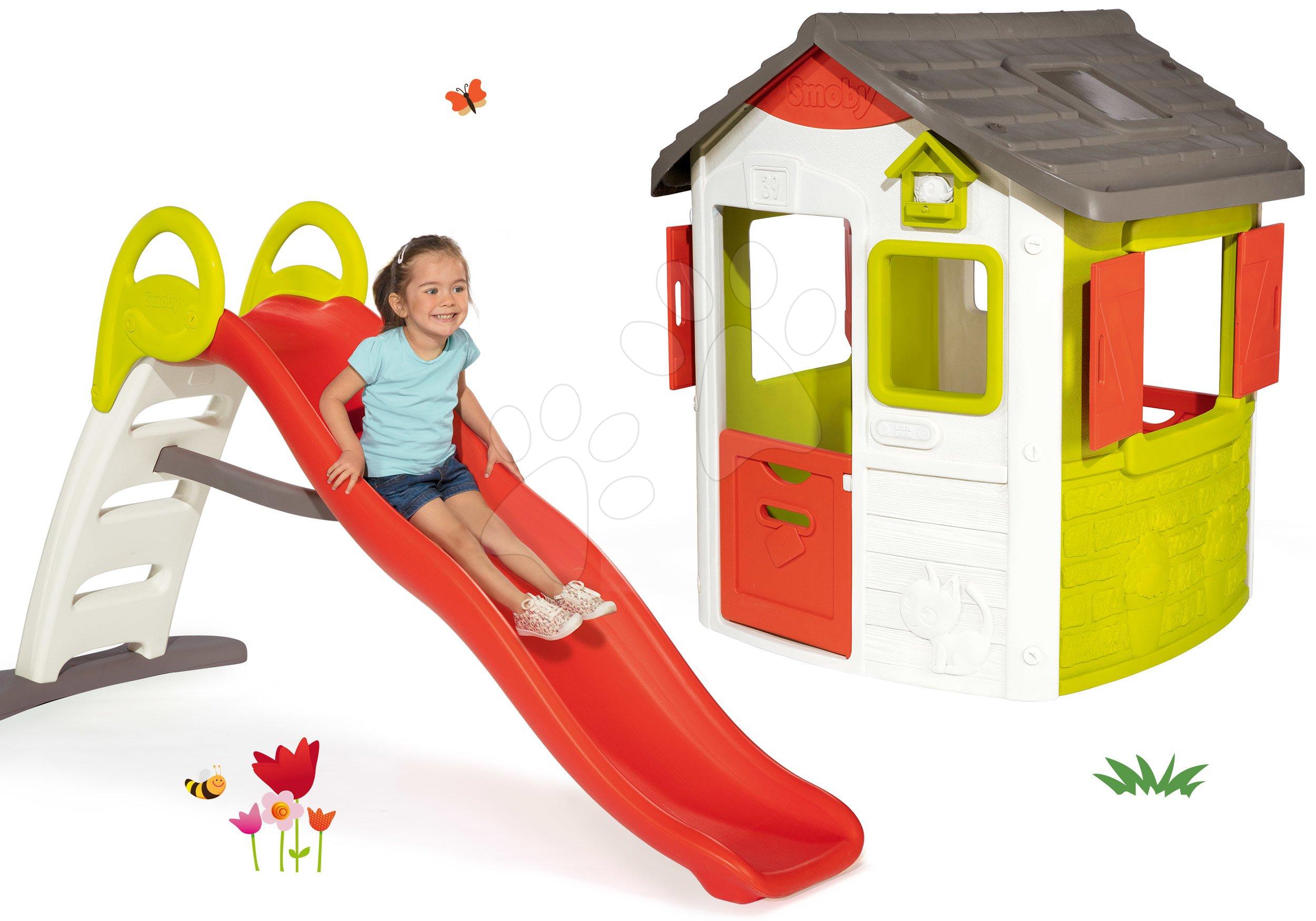 Domčeky so šmykľavkou - Set domček Neo Jura Lodge Smoby s dvoma dverami a šmykľavka Toboggan Funny vlnkovitá s dĺžkou 2 m od 24 mes