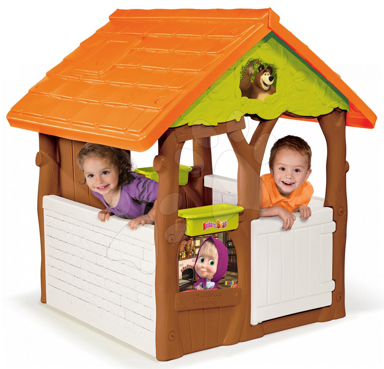Detské domčeky - Rozprávkový domček Máša a medveď Smoby s kvetináčmi od 24 mes