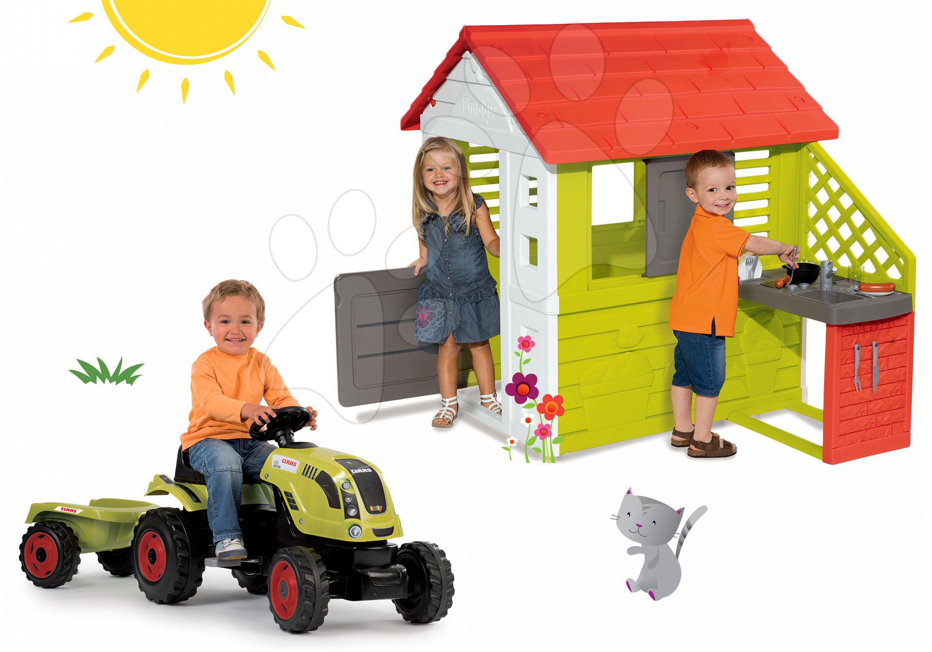 Set domeček Pretty Nature Smoby s letní kuchyňkou a traktor Claas GM s přívěsem od 24 měsíců