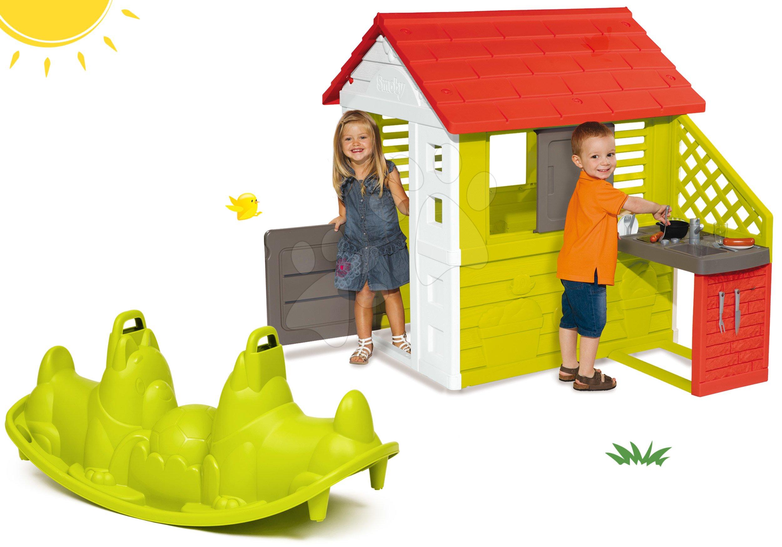 Set domeček Pretty Nature Smoby s letní kuchyňkou a houpačka Pes oboustranná od 24 měsíců