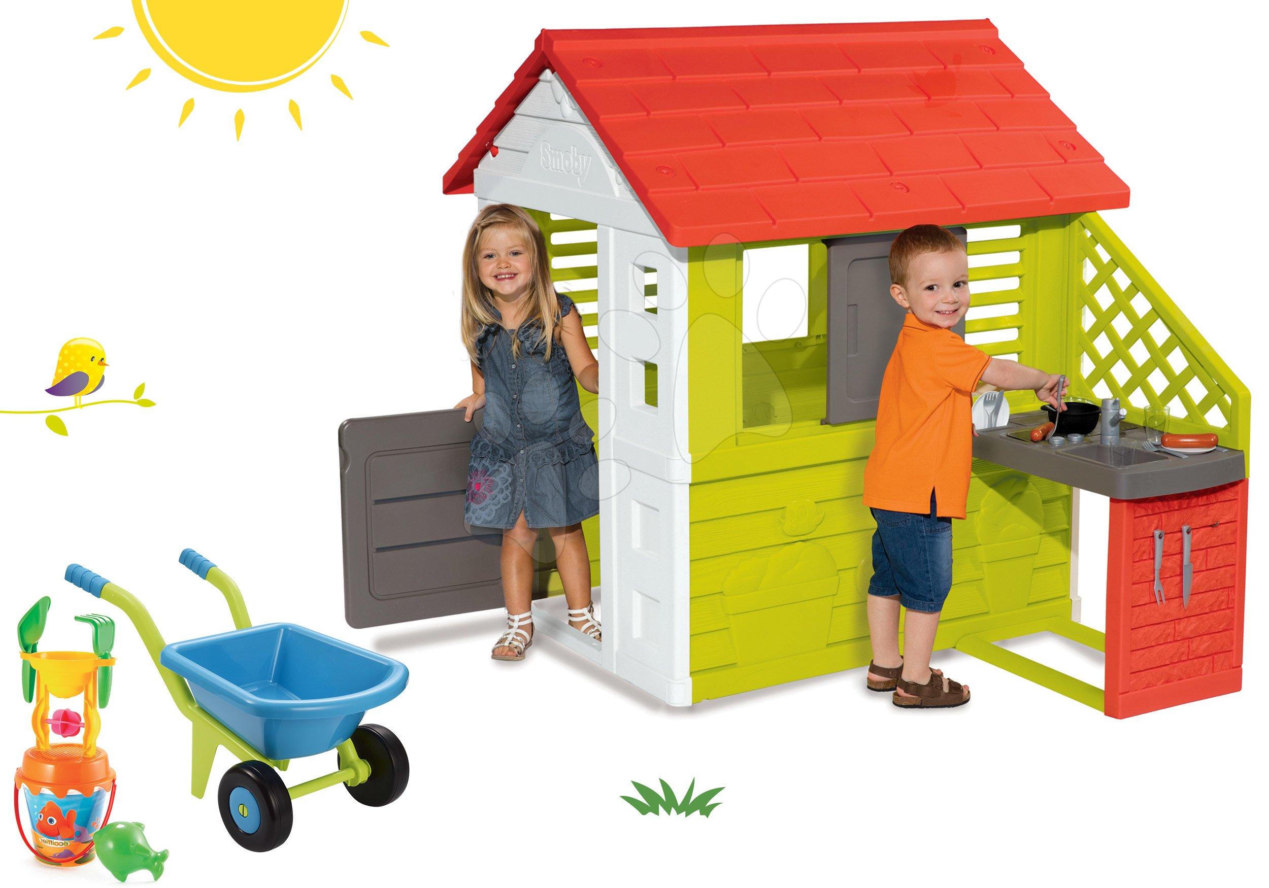 Set domeček Pretty Nature Smoby s letní kuchyňkou, kolečko a kbelík set s mlýnem od 24 měsíců