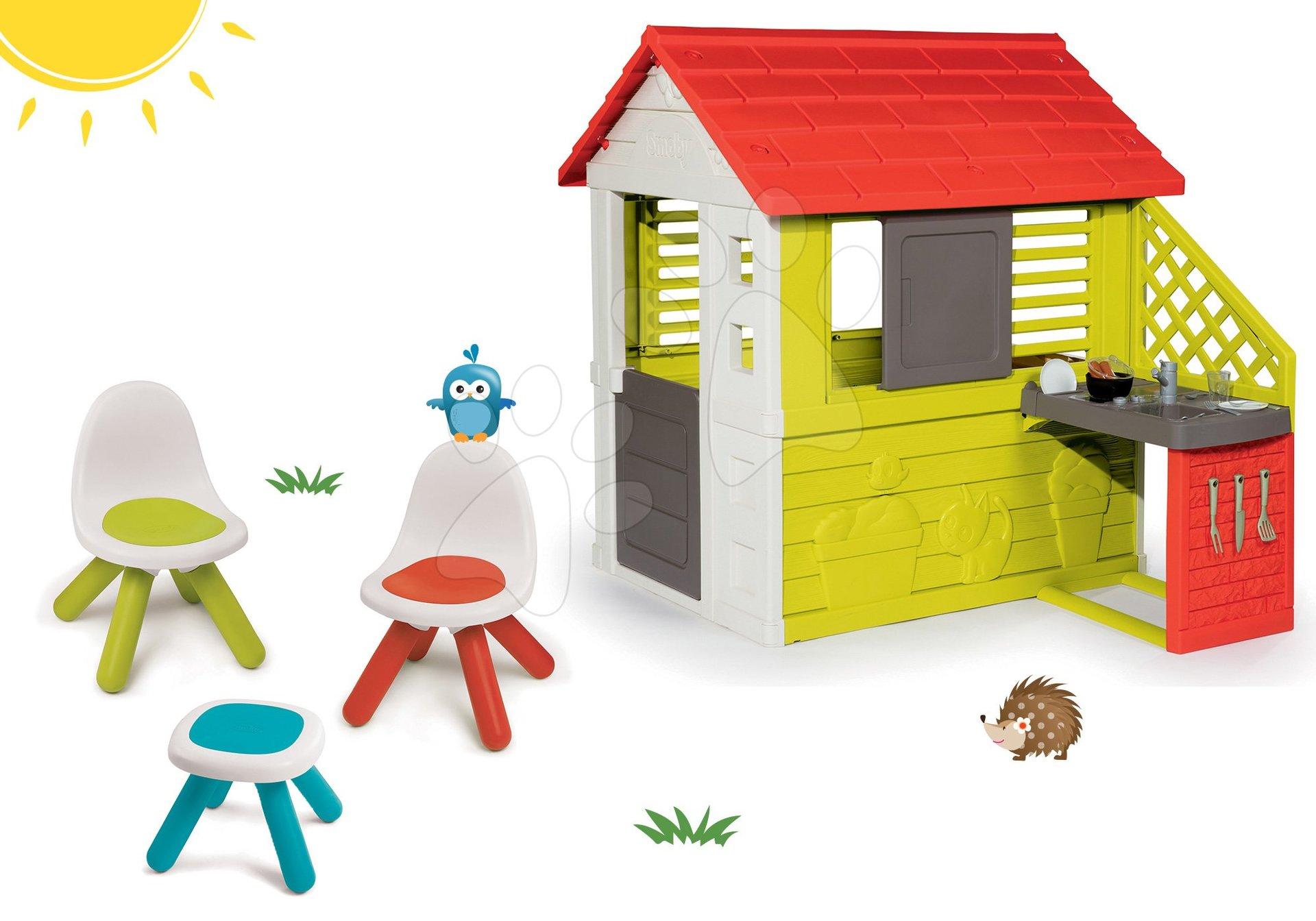 Set domeček Pretty Nature Smoby s letní kuchyňkou a stůl Piknik se dvěma židlemi KidChair od 24 měsíců