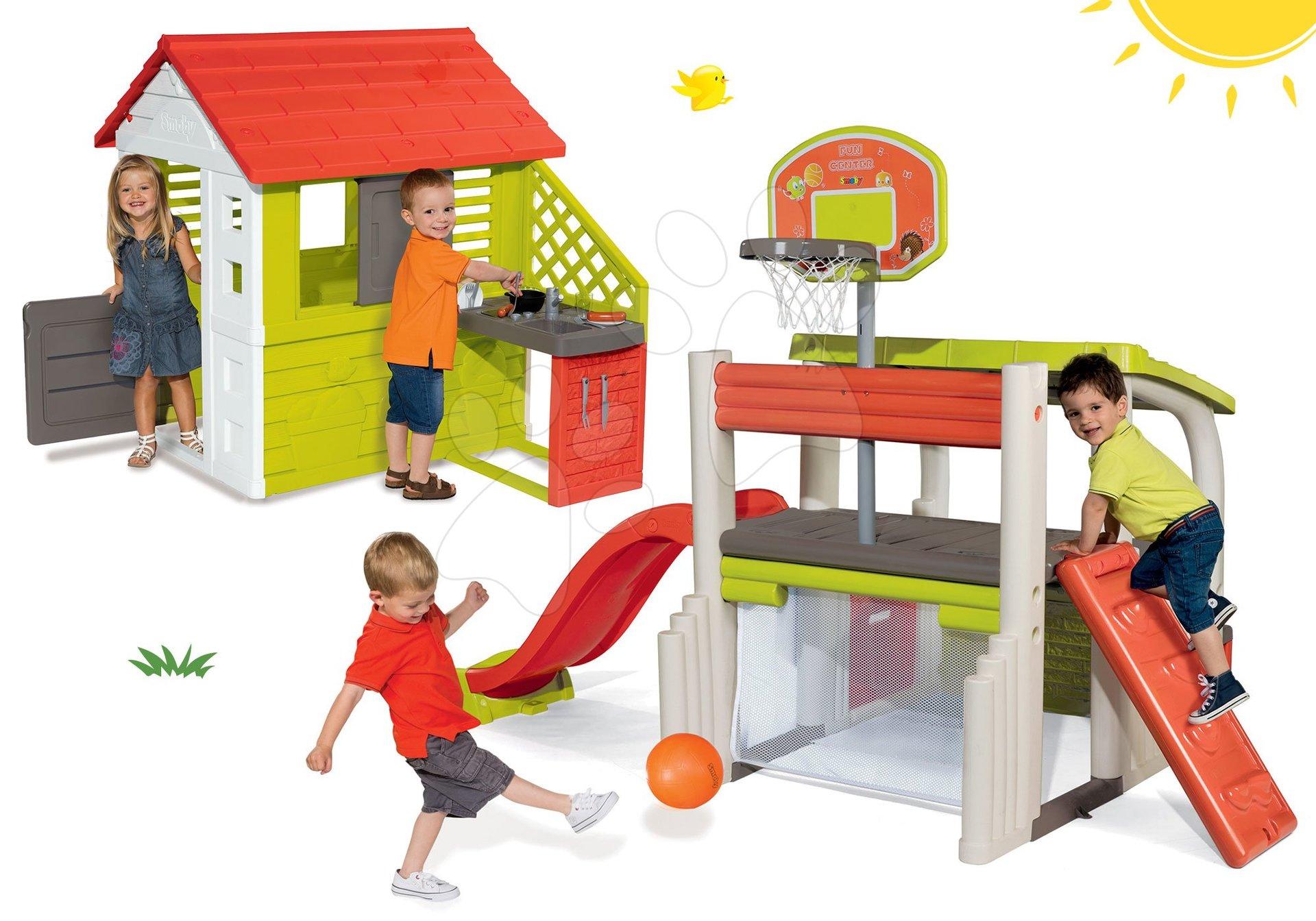 Set domček Pretty Nature Smoby s letnou kuchynkou a hracie centrum Fun Center od 24 mes