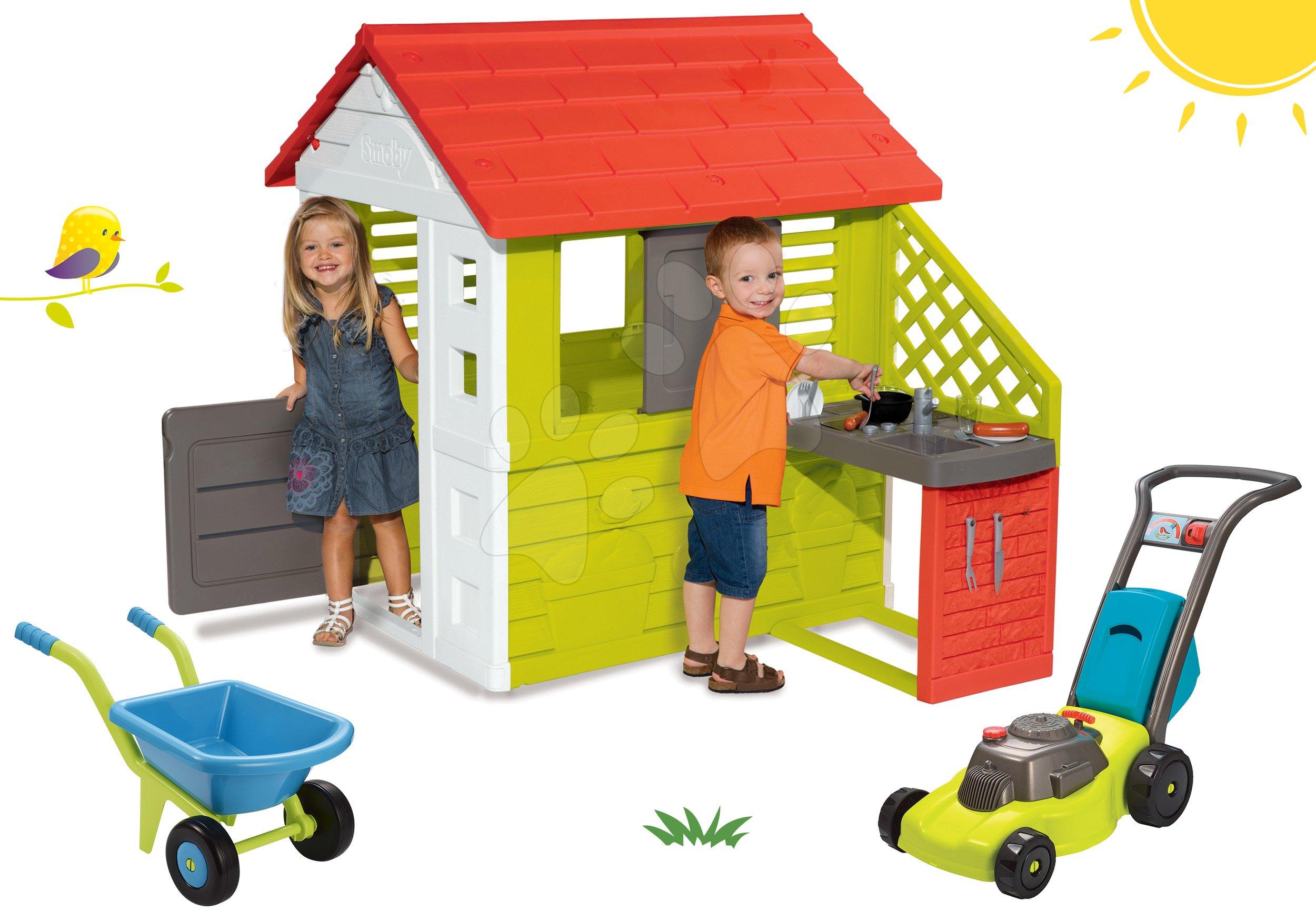 Set domeček Pretty Nature Smoby s letní kuchyňkou, kolečko a sekačka od 24 měsíců