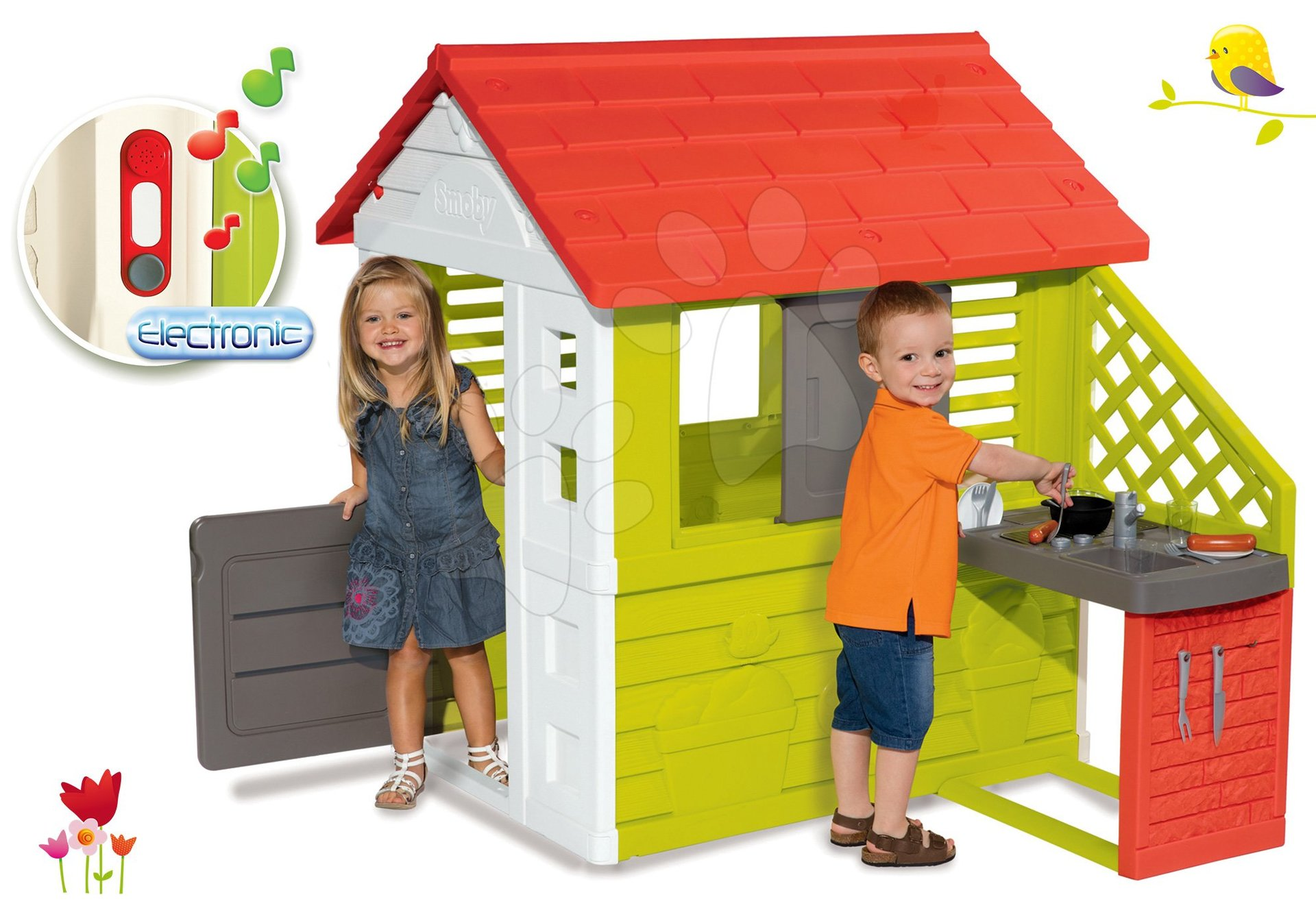 Smoby set domček Pretty Nature s letnou kuchynkou a okenicou a darček zvonček elektronický 810702-30