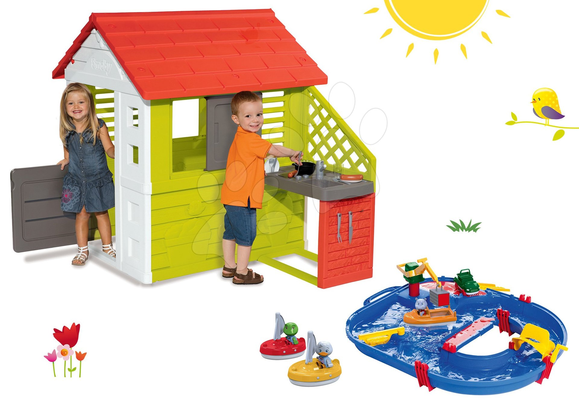 Smoby set domček Pretty Nature s letnou kuchynkou a vodná dráha AquaPlay s kontajnerovou loďou a 2 loďkami 81072-31